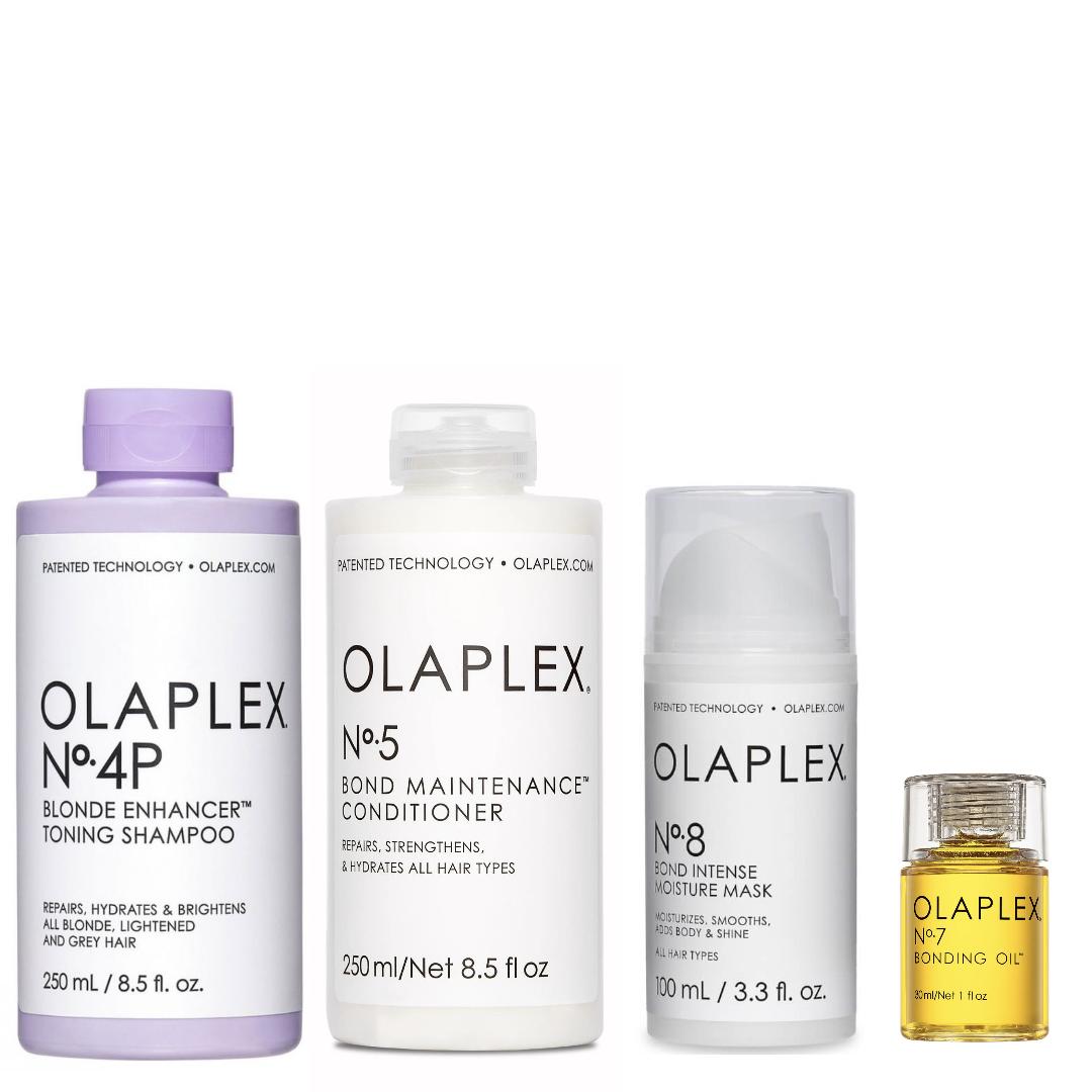 Olaplex Set - No.4P Blonde Enhancer Toning Shampoo 250ml + No.5 Bond Maintenance Conditioner 250ml + No.8 Bond Intense Moisture Mask 100ml + No.7 Bonding Oil 30ml