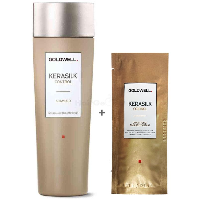 Goldwell Kerasilk Control Set - Shampoo 250ml + Conditioner Sachet 10ml