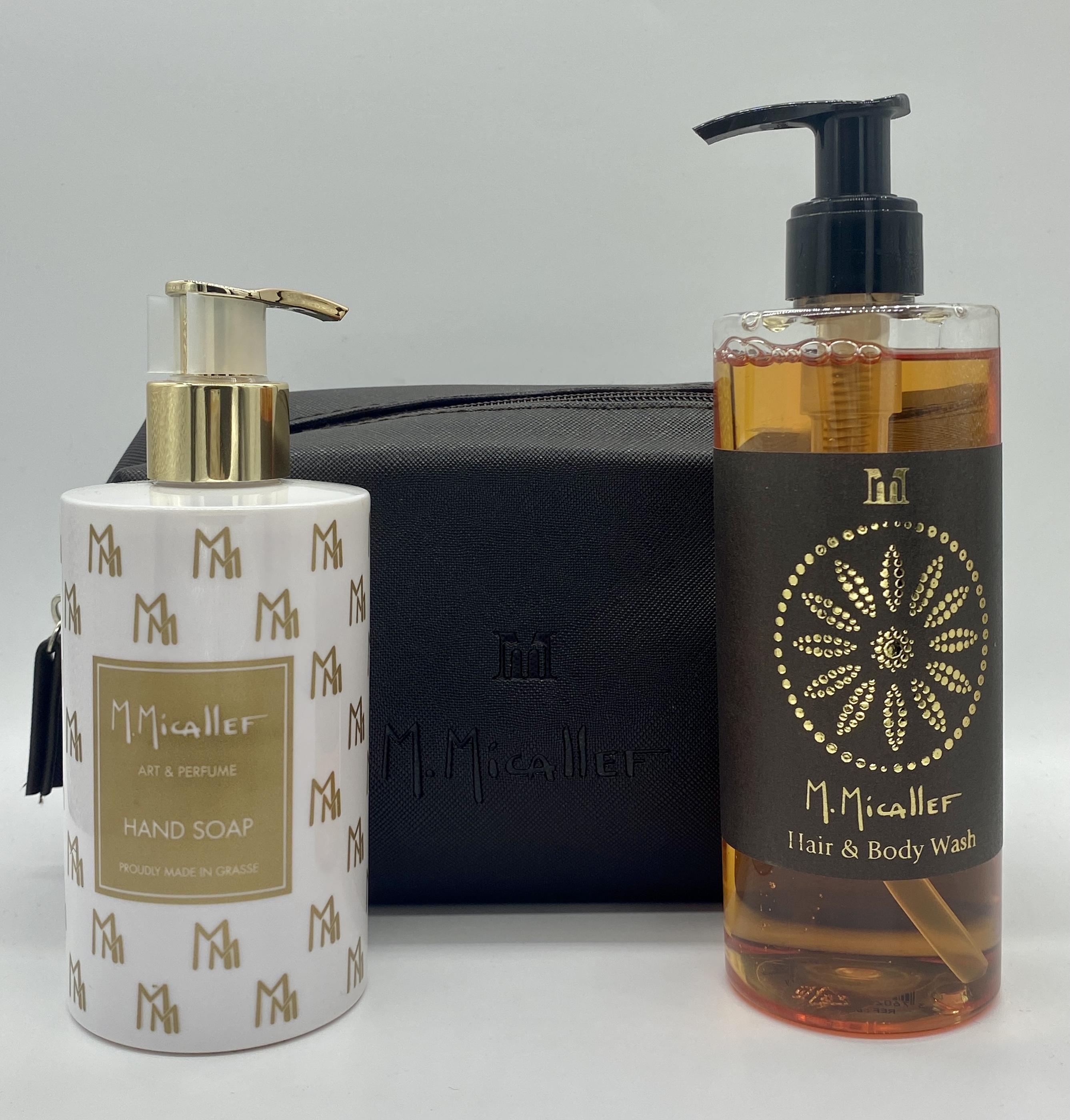 M.Micallef Geschenkset - Hand Soap 250ml + Hair & Body Wash 300ml + Kulturbeutel