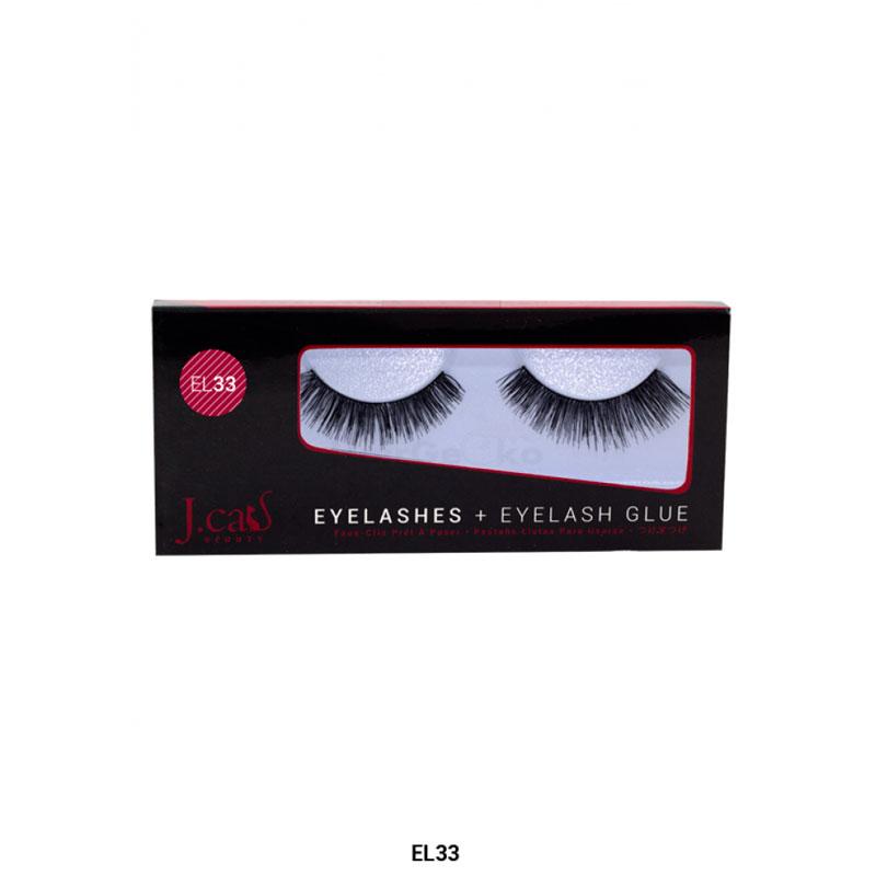 J.Cat Eyelashes Wimpern aus 100% Echthaar + Kleber - EL33