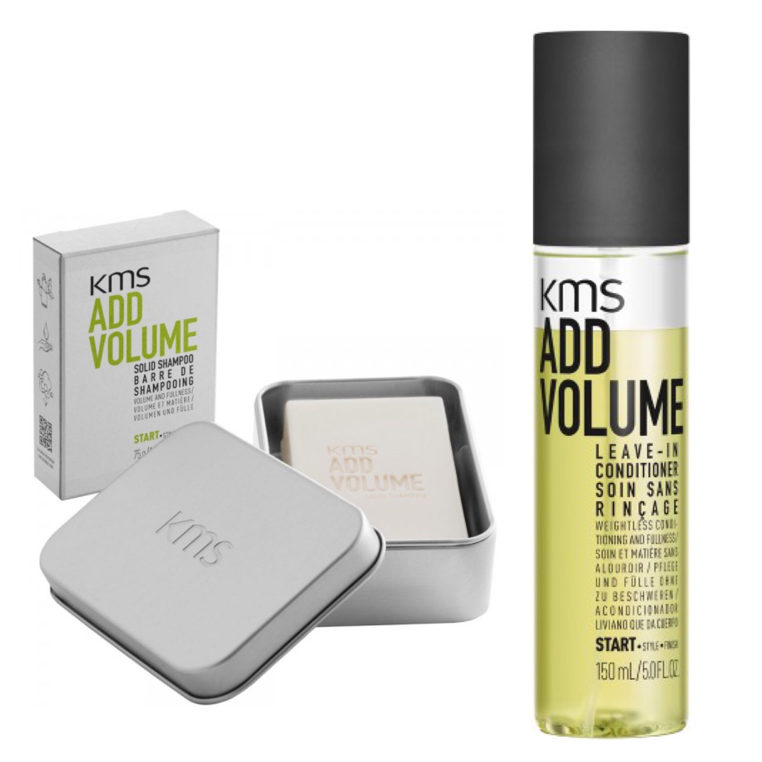 KMS California Addvolume Set - Solid Shampoo 75g + Keeper + Leave-In Conditioner 150ml