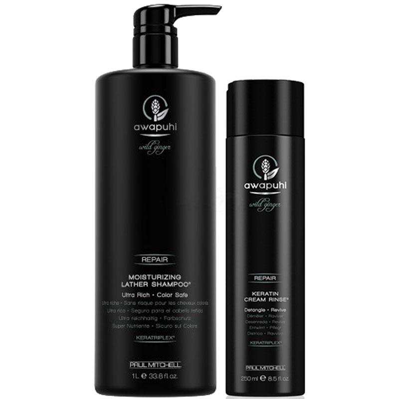 Paul Mitchell Awapuhi Wild Ginger Repair Set - Moisturizing Lather Shampoo 1000ml + Keratin Cream Rinse 250ml