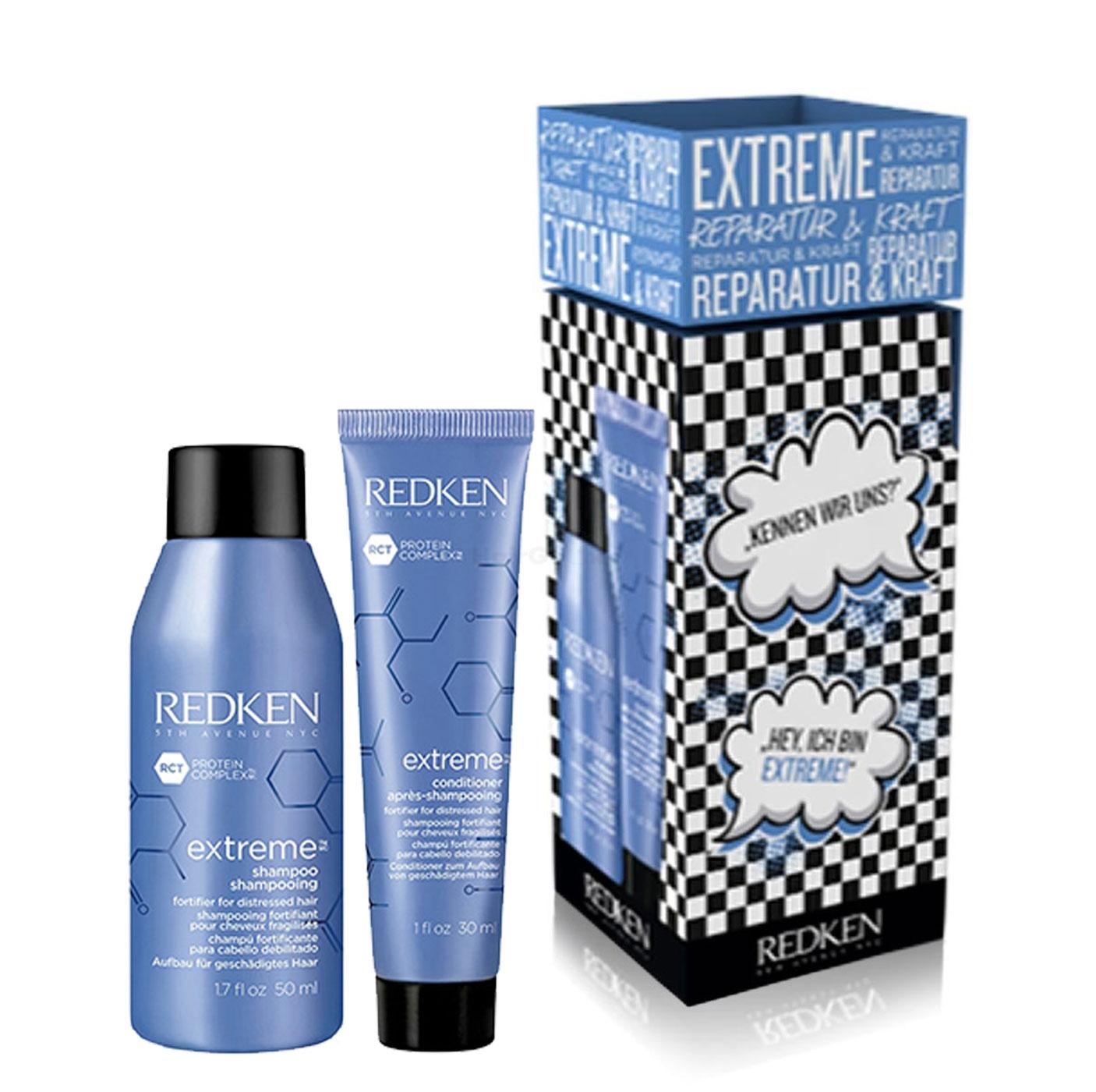 Redken Extreme mini Set - Shampoo 50ml + Conditioner 30ml - Probierset, Probiergröße, Reisegröße Urlaub