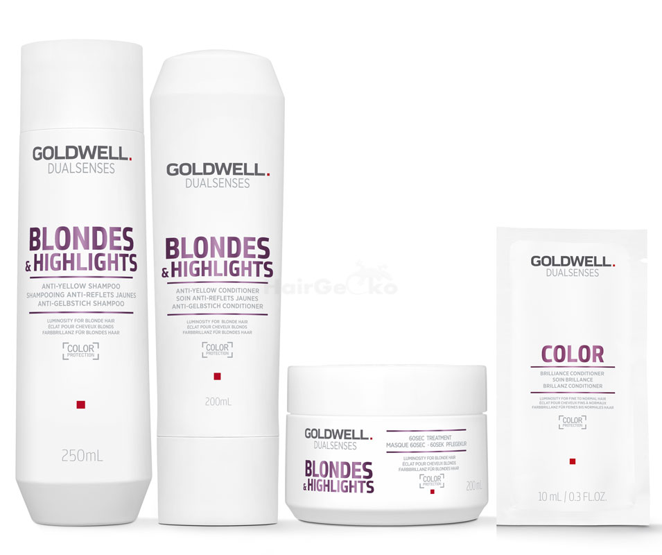 Goldwell Dualsenses Blondes & Highlights Anti-Gelbstich Set - Shampoo 250ml + Conditioner 200ml + 60 Sek Pflegekur 200ml + Color Brillanz Conditioner Sachet 10ml