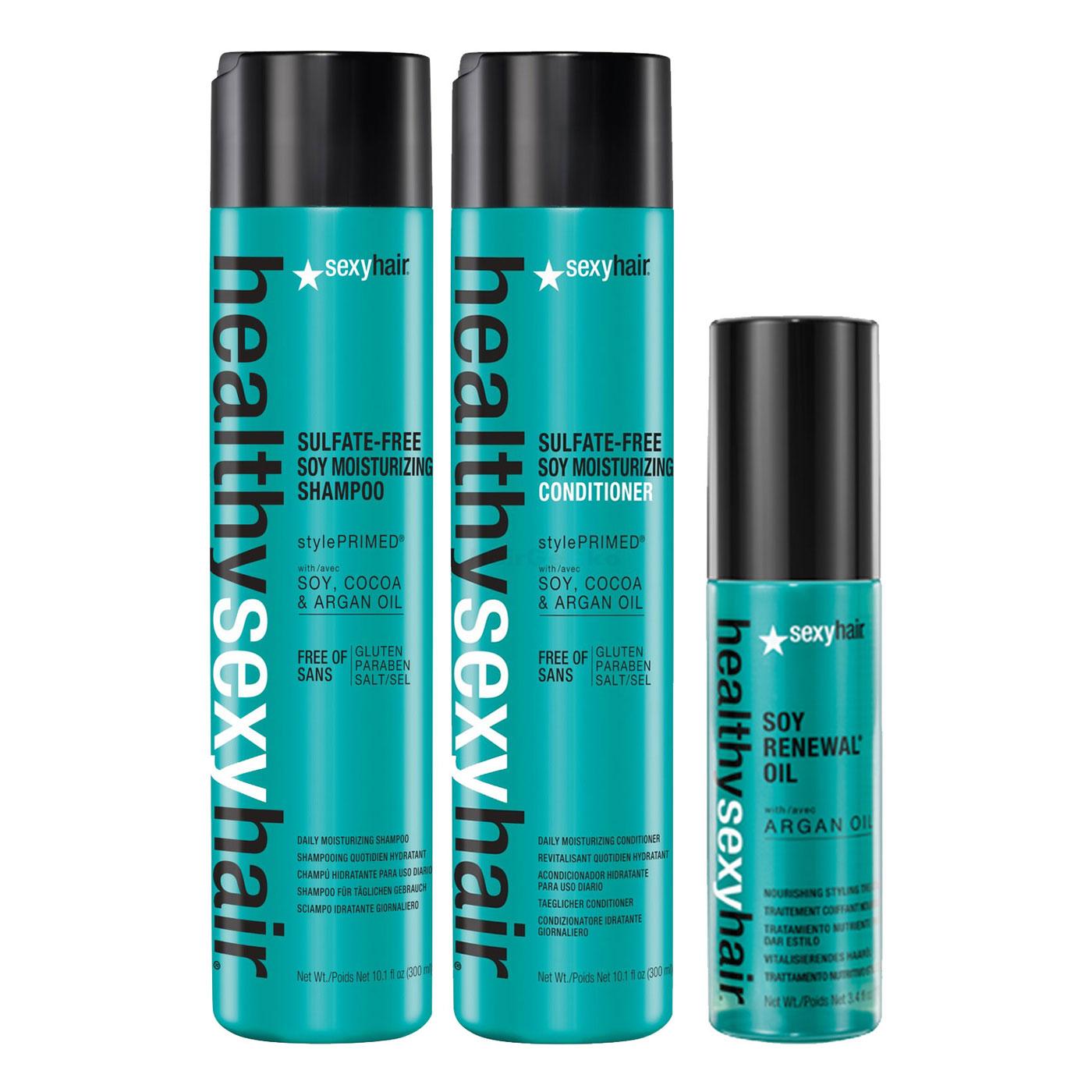 Sexy Hair Healthy Set - Soy Moisturizing Shampoo 300ml + Soy Moisturizing Conditioner 300ml + Soy Renewal Oil 100ml