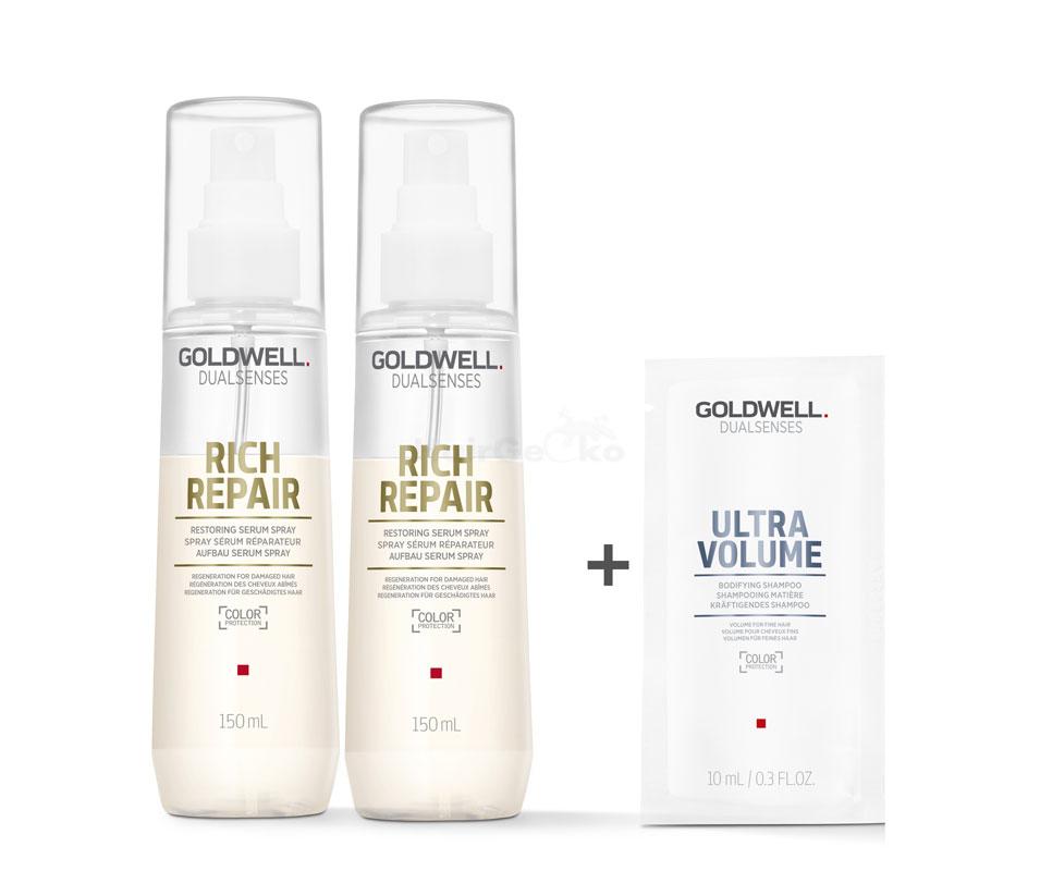 Goldwell Dualsenses Rich Repair Aufbau Serum Spray 2x150ml = 300ml + Ultra Volume Kräftigendes Shampoo Sachet 10ml