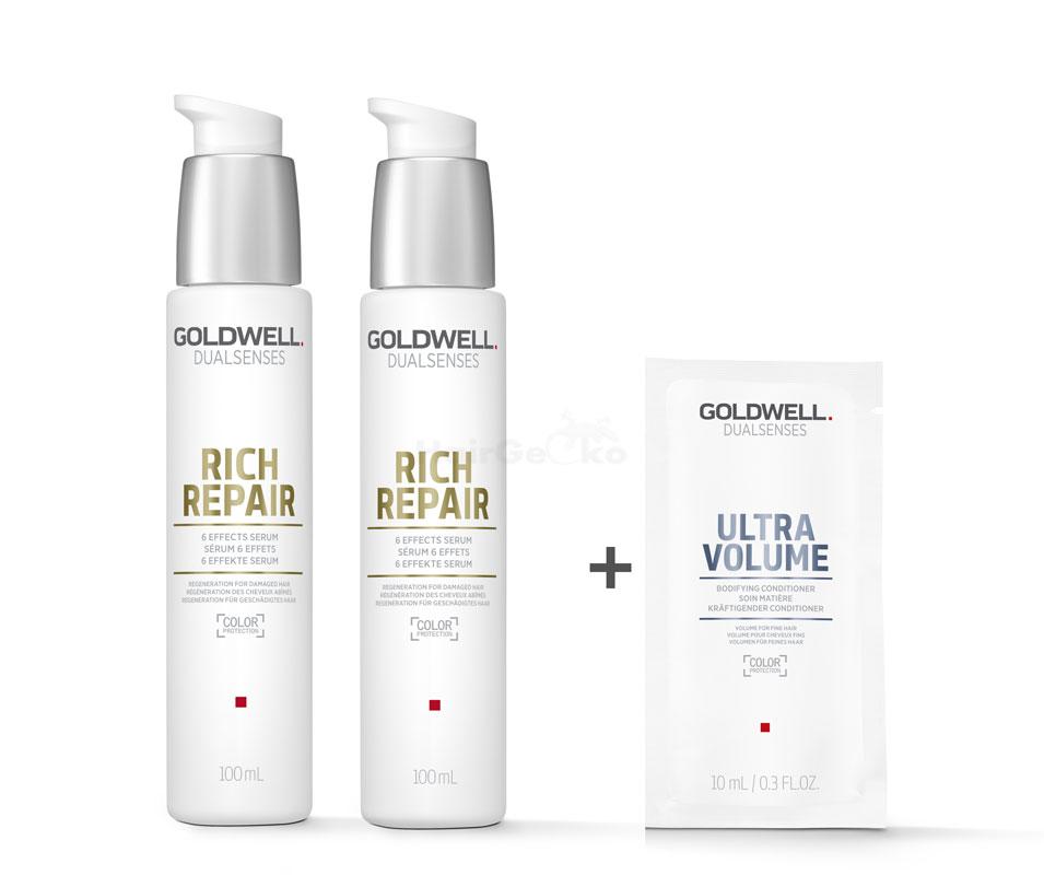 Goldwell Dualsenses Rich Repair 6 Effects Serum 2x100ml = 200ml + Ultra Volume Kräftigender Conditioner Sachet 10ml