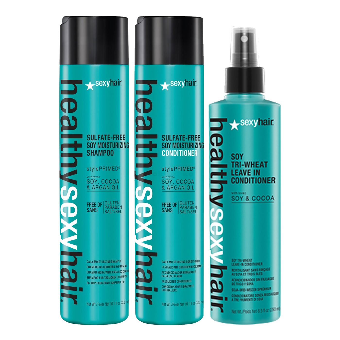 Sexy Hair Healthy Set - Soy Moisturizing Shampoo 300ml + Soy Moisturizing Conditioner 300ml + Soy Tri Wheat Leave-In Conditioner 250ml = 500ml