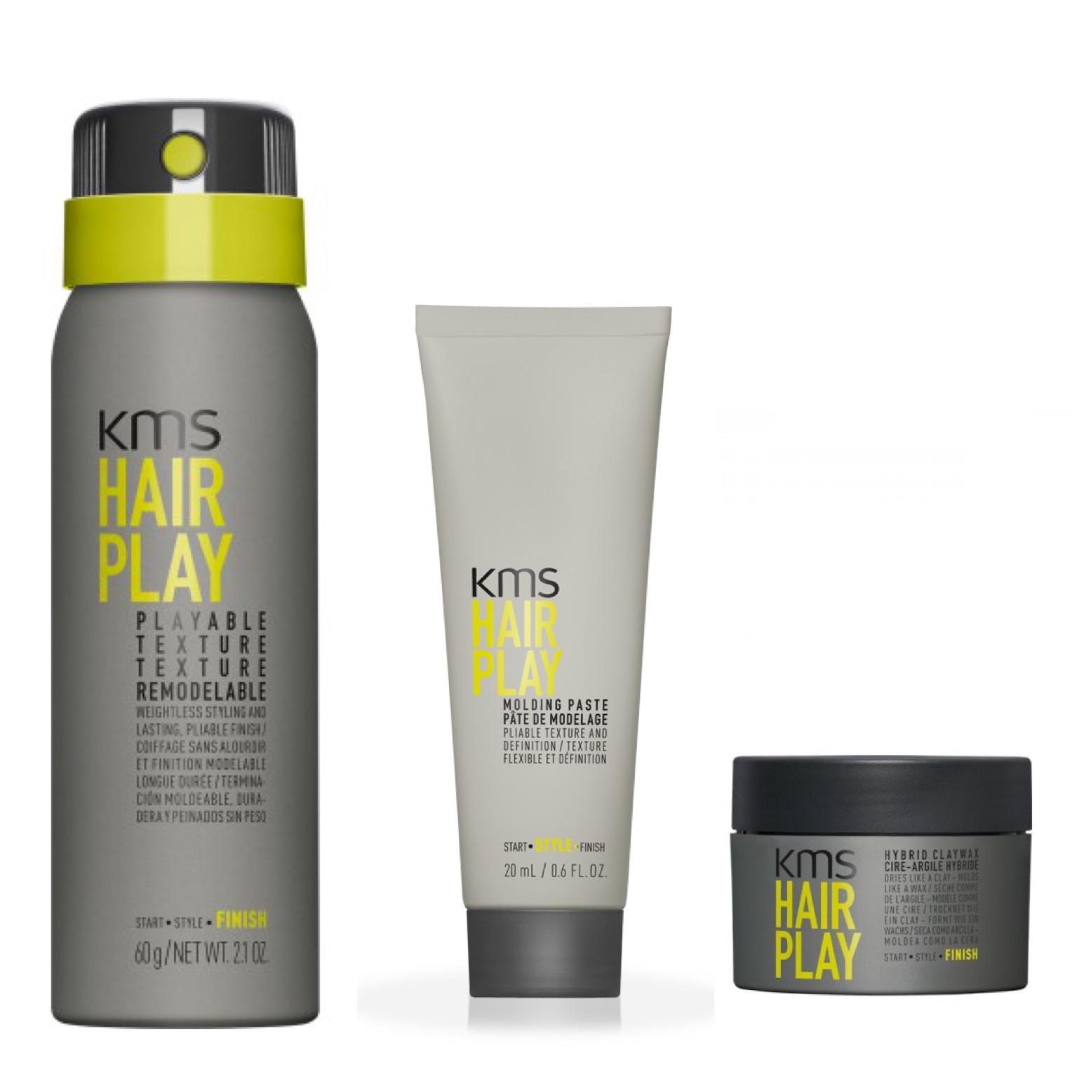KMS California Hairplay Reisegröße Set - Playable Texture 75ml + Molding Paste 20ml + Hybrid Claywax 10ml