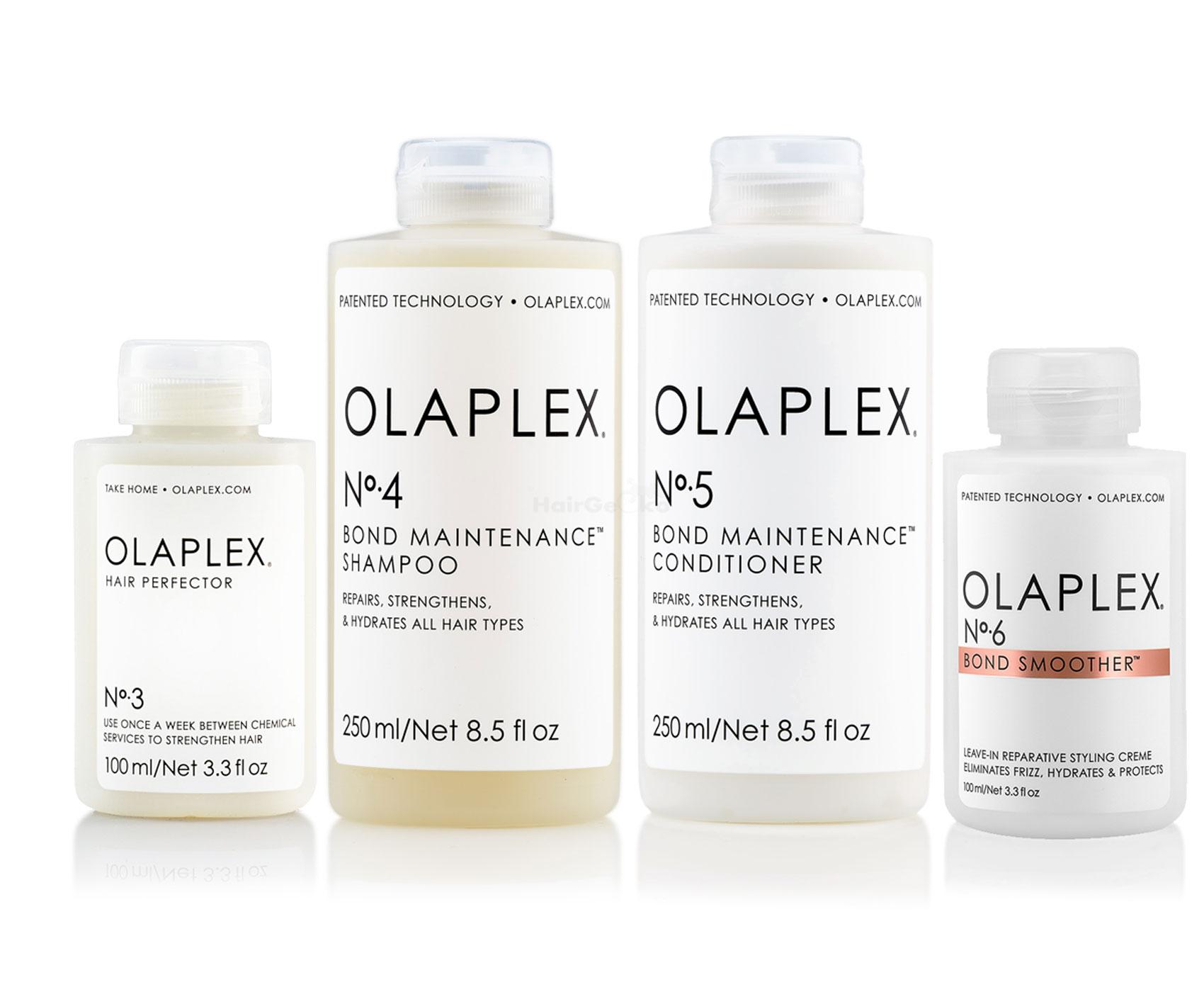 Olaplex Set - Olaplex Bond Maintenance Shampoo No 4 (250ml) + Olaplex Bond Maintenance Conditioner No 5 (250ml) + Olaplex Hair Perfector No 3 (100ml) + Olaplex Bond Smoother No 6 (100ml)