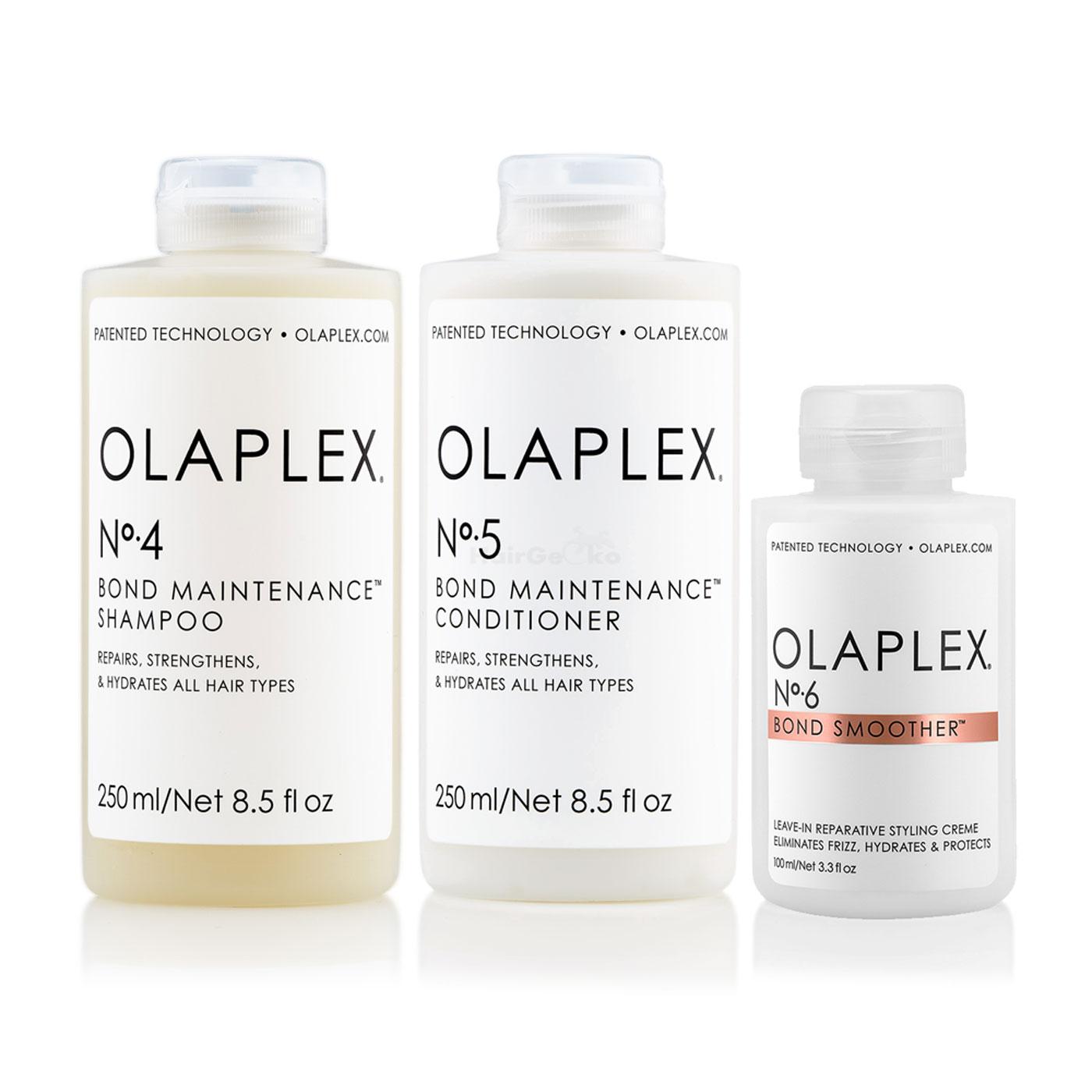 Olaplex Set - Olaplex Bond Maintenance Shampoo No 4 (250ml) + Olaplex Bond Maintenance Conditioner No 5 (250ml) + Olaplex Bond Smoother No 6 (100ml)
