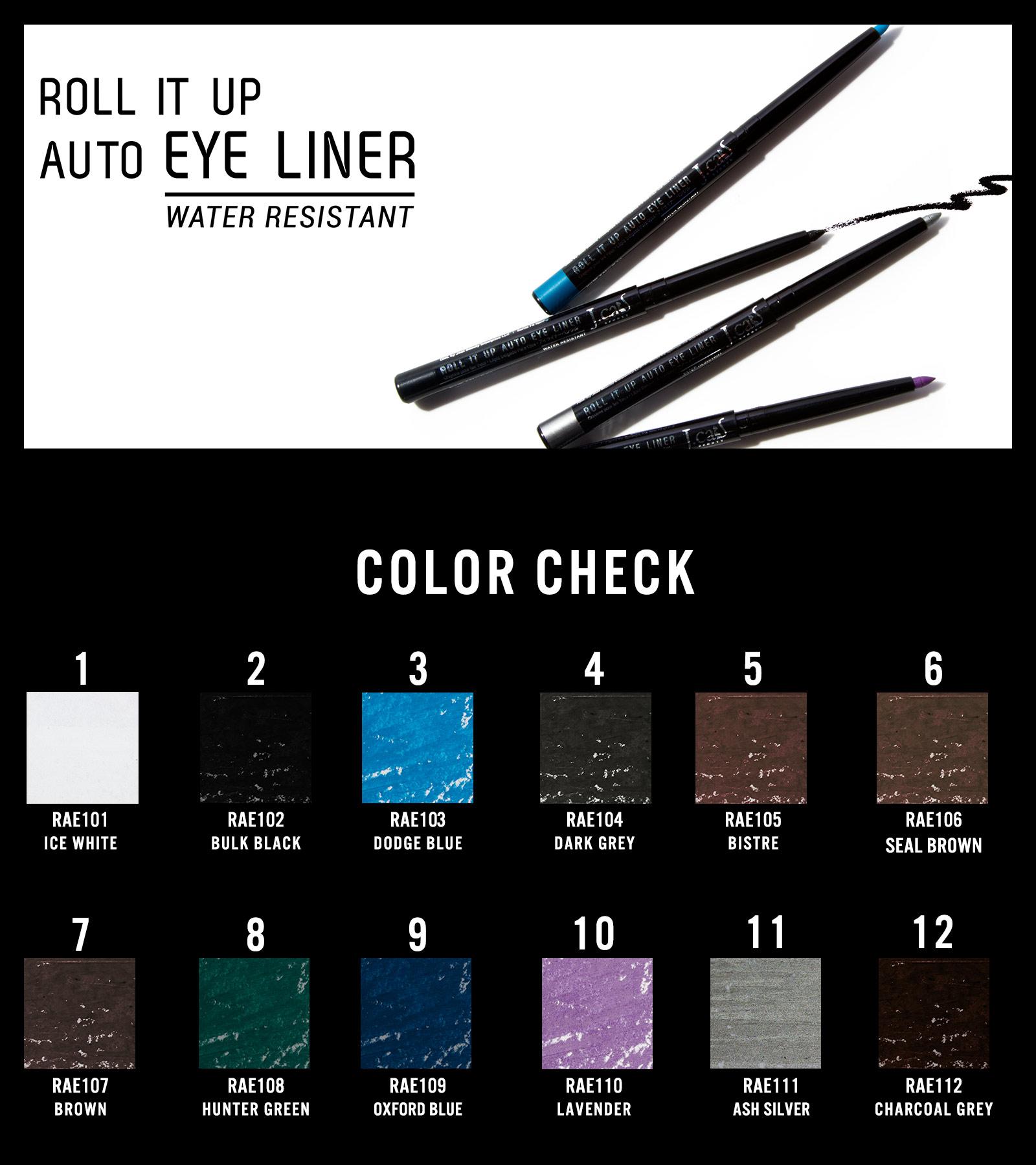 J.Cat Beauty Roll It Up Auto Eye Liner Eyeliner Set - 12 verschiedene Farben
