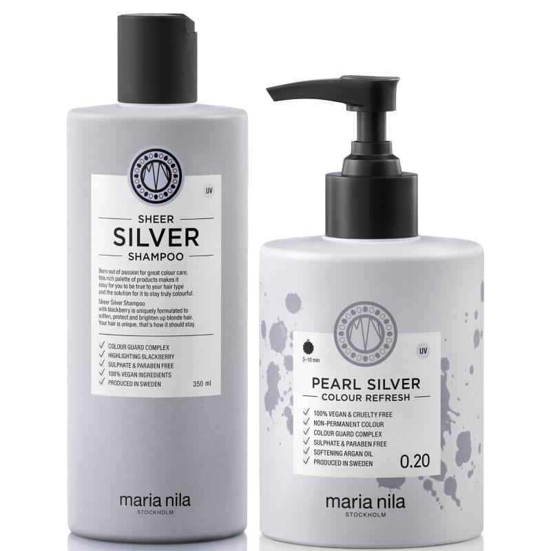 Maria Nila Sheer Silver Set - Shampoo 350ml + Colour Refresh Pearl Silver 0.20 300ml