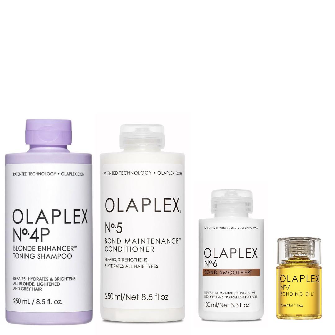 Olaplex Set - No.4P Blonde Enhancer Toning Shampoo 250ml + No.5 Bond Maintenance Conditioner 250ml + No.6 Bond Smoother 100ml + No.7 Bonding Oil 30ml