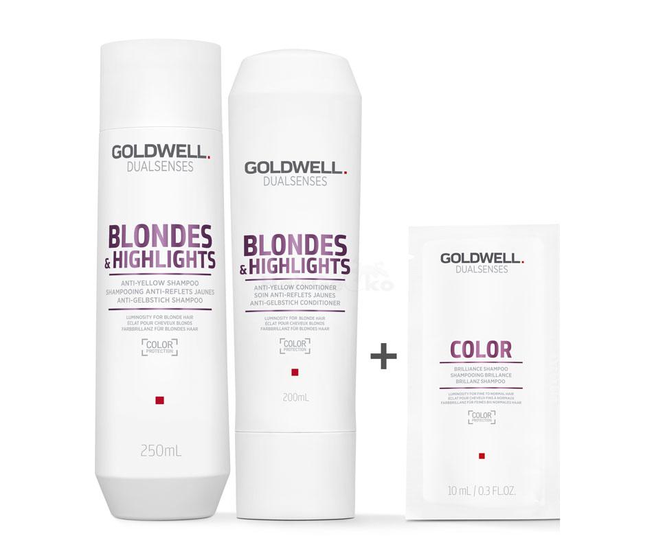 Goldwell Dualsenses Blondes & Highlights Anti-Gelbstich Set - Shampoo 250ml + Conditioner 200ml + Color Brillanz Shampoo Sachet 10ml