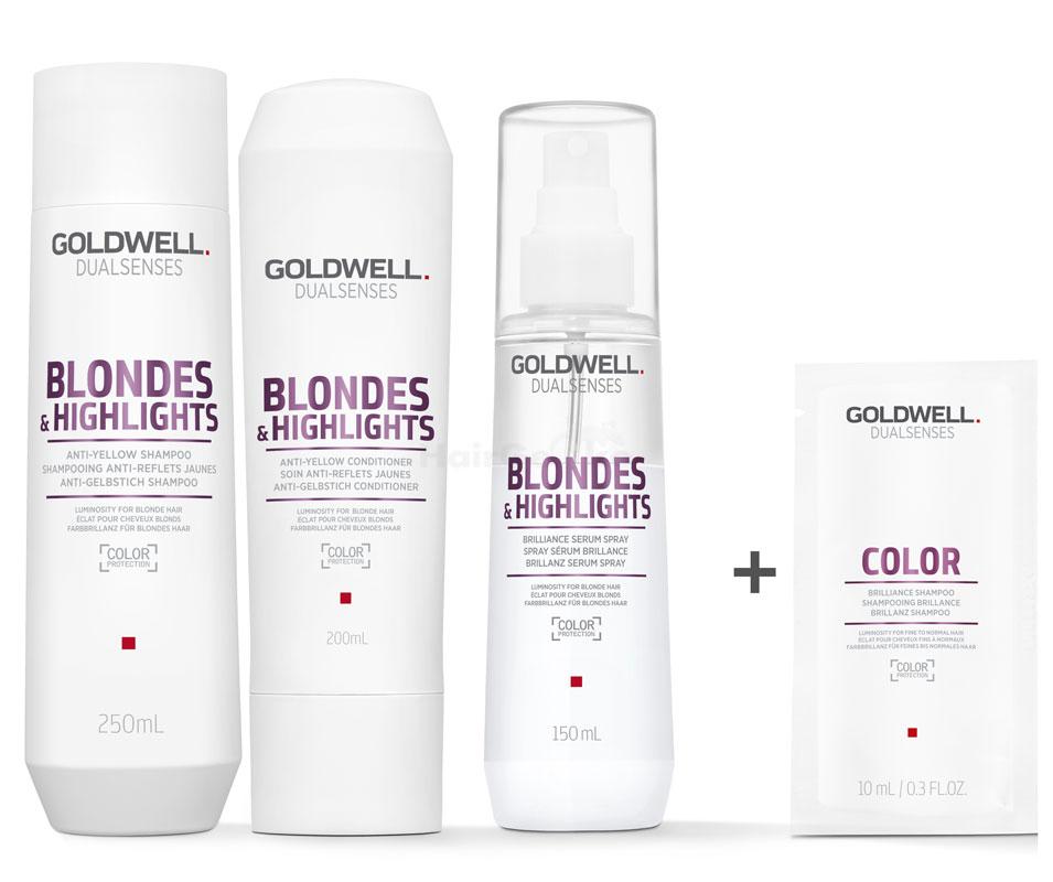 Goldwell Dualsenses Blondes & Highlights Anti-Gelbstich Set - Shampoo 250ml + Conditioner 200ml + Brillianz Serum Spray 150ml + Color Brillanz Conditioner Sachet 10ml