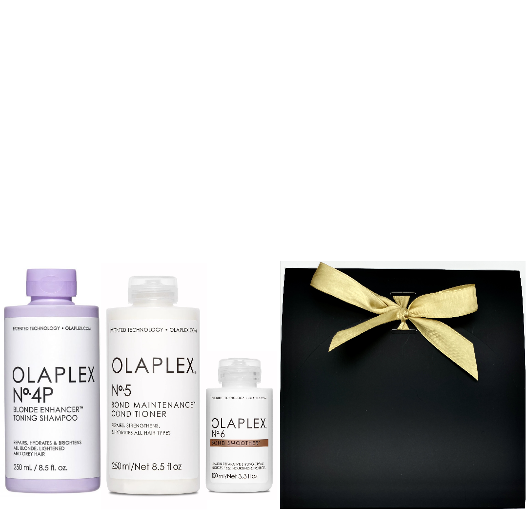 Olaplex Geschenkset Neu - No.4P Blonde Enhancer Toning Shampoo 250ml + No.5 Bond Maintenance Conditioner 250ml + No.6 Bond Smoother 100ml