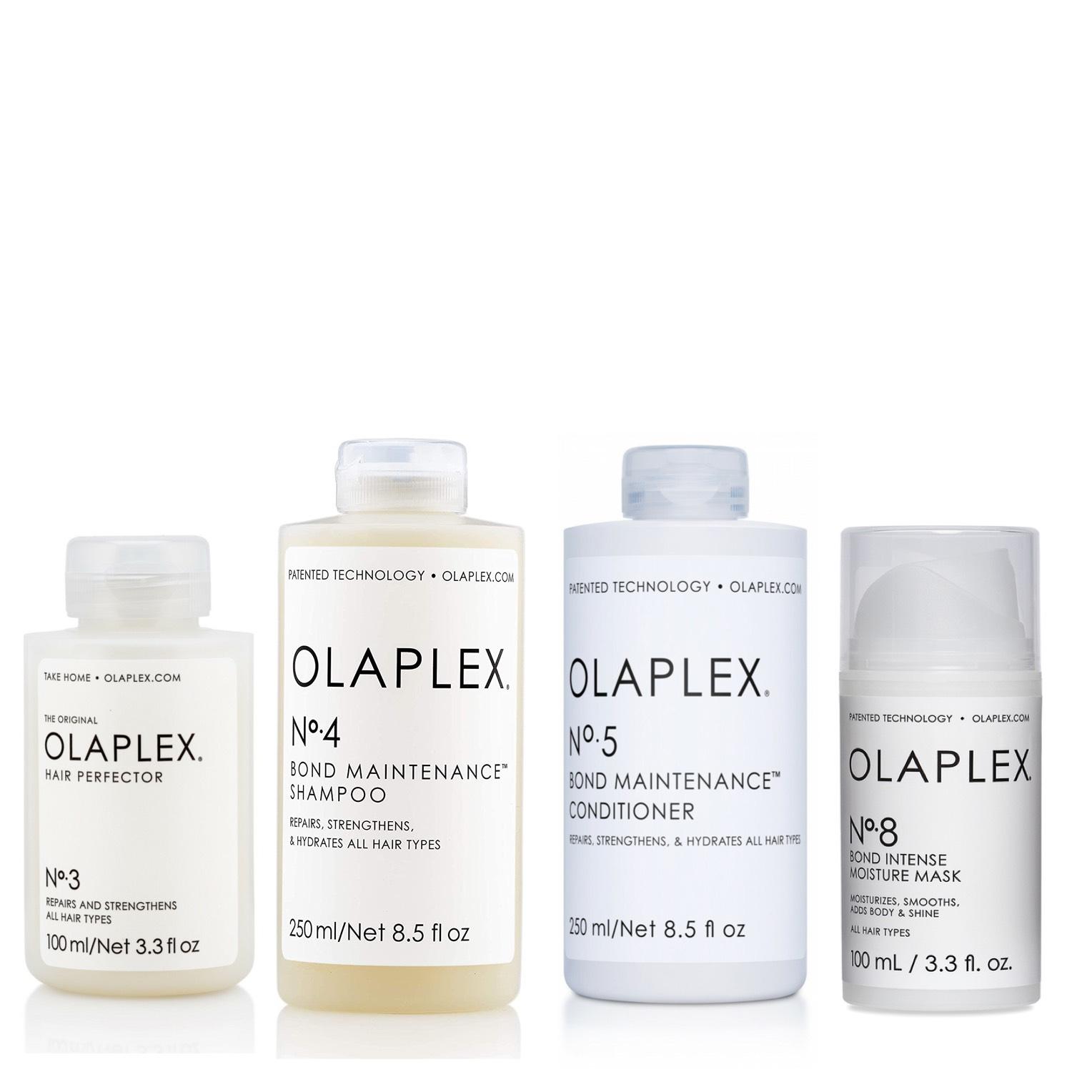 Olaplex Set - Olaplex No 3 Hair Perfector 100ml + Olaplex No 4 Bond Maintenance Shampoo 250ml + Olaplex No 5 Bond Maintenance Conditioner 250ml + Olaplex No 8 Bond Intense Moisture Mask 100ml