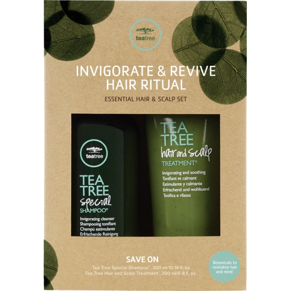 Paul Mitchell Tea Tree Inigorate & Revive Hair Ritual Duo Set - Special Shampoo 300ml + Hair And Scalp Treatment 200ml