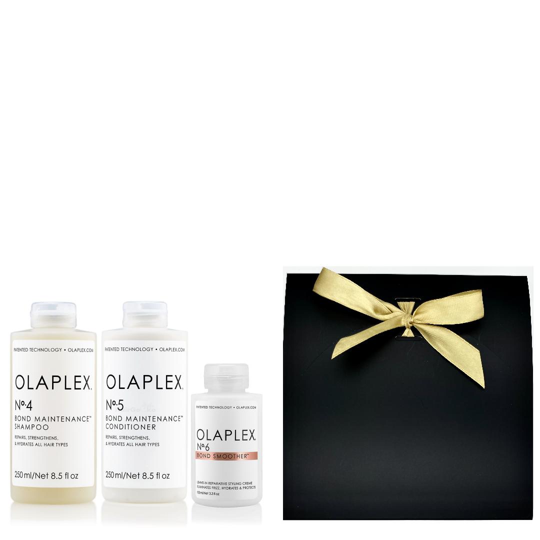 Olaplex Geschenkset - No.4 Bond Maintenance Shampoo 250ml + No.5 Bond Maintenance Conditioner 250ml + No.6 Bond Smoother 100ml