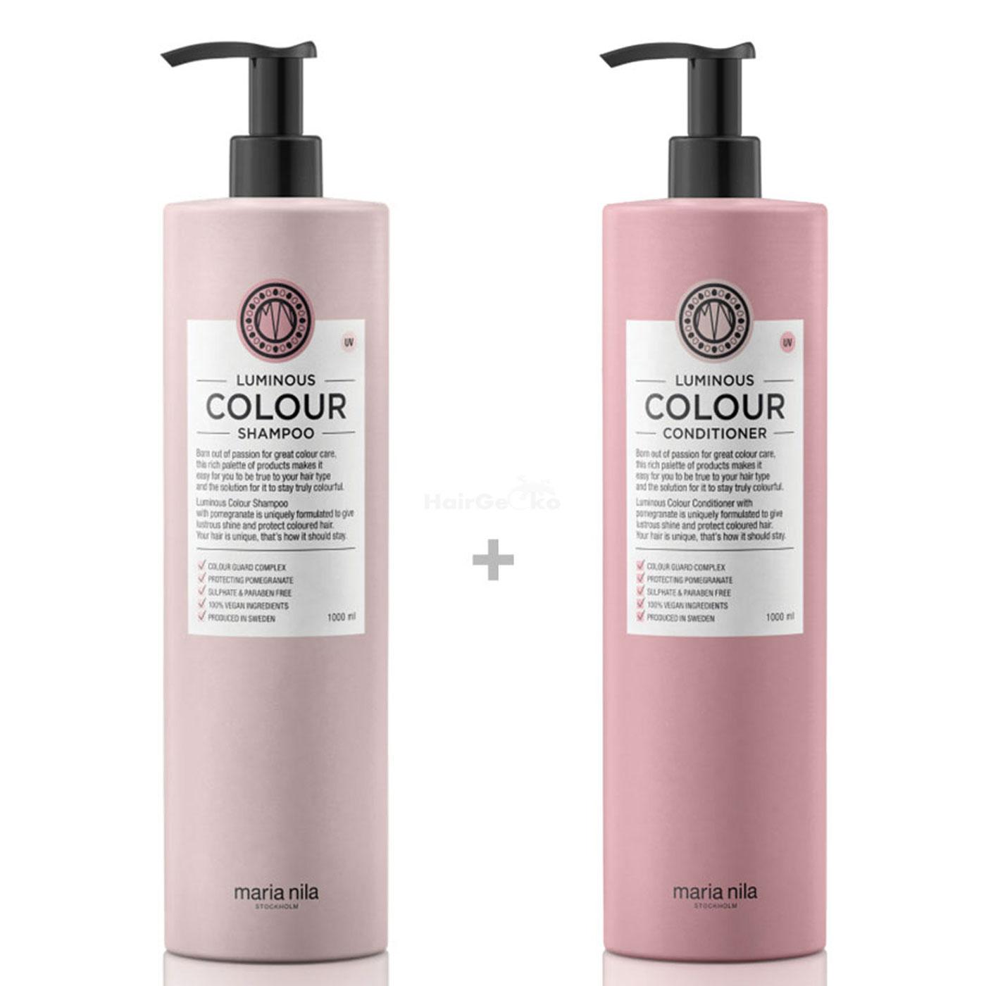 Maria Nila Luminous Colour XXL Set - Shampoo 1000 ml + Conditioner 1000 ml