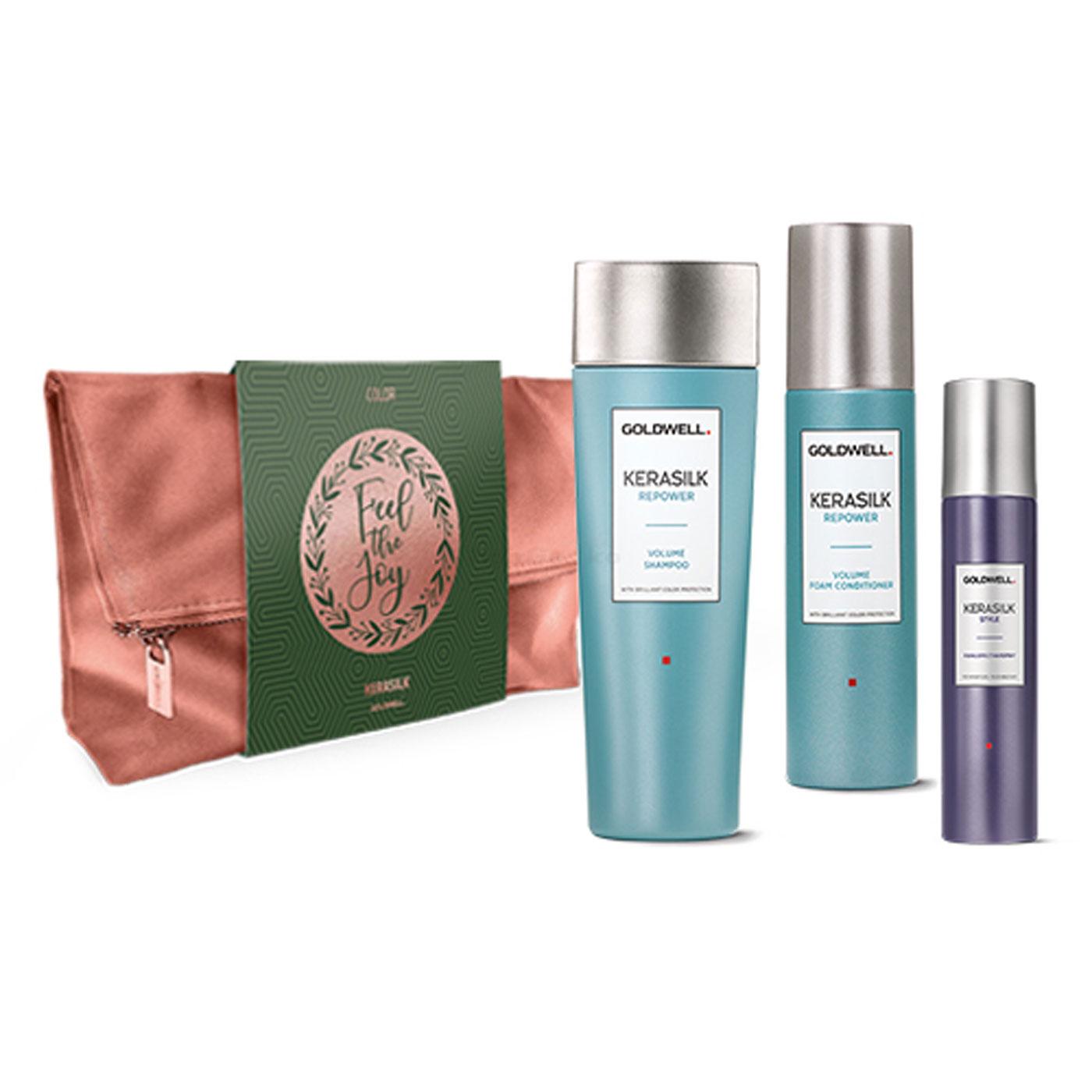 Goldwell Kerasilk Repower Xmas Bag Tasche Set - Repower Volume Shampoo 250ml + Repower Foam Conditioner 150ml + Style Texture Refresh Spray 75ml + Tasche