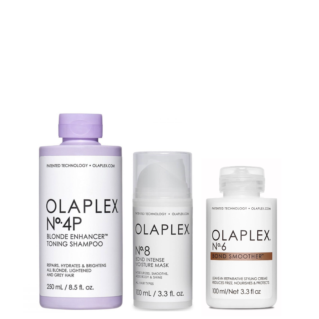 Olaplex Set - No.4P Blonde Enhancer Toning Shampoo 250ml + No.8 Bond Intense Moisture Mask 100ml + No.6 Bond Smoother 100ml