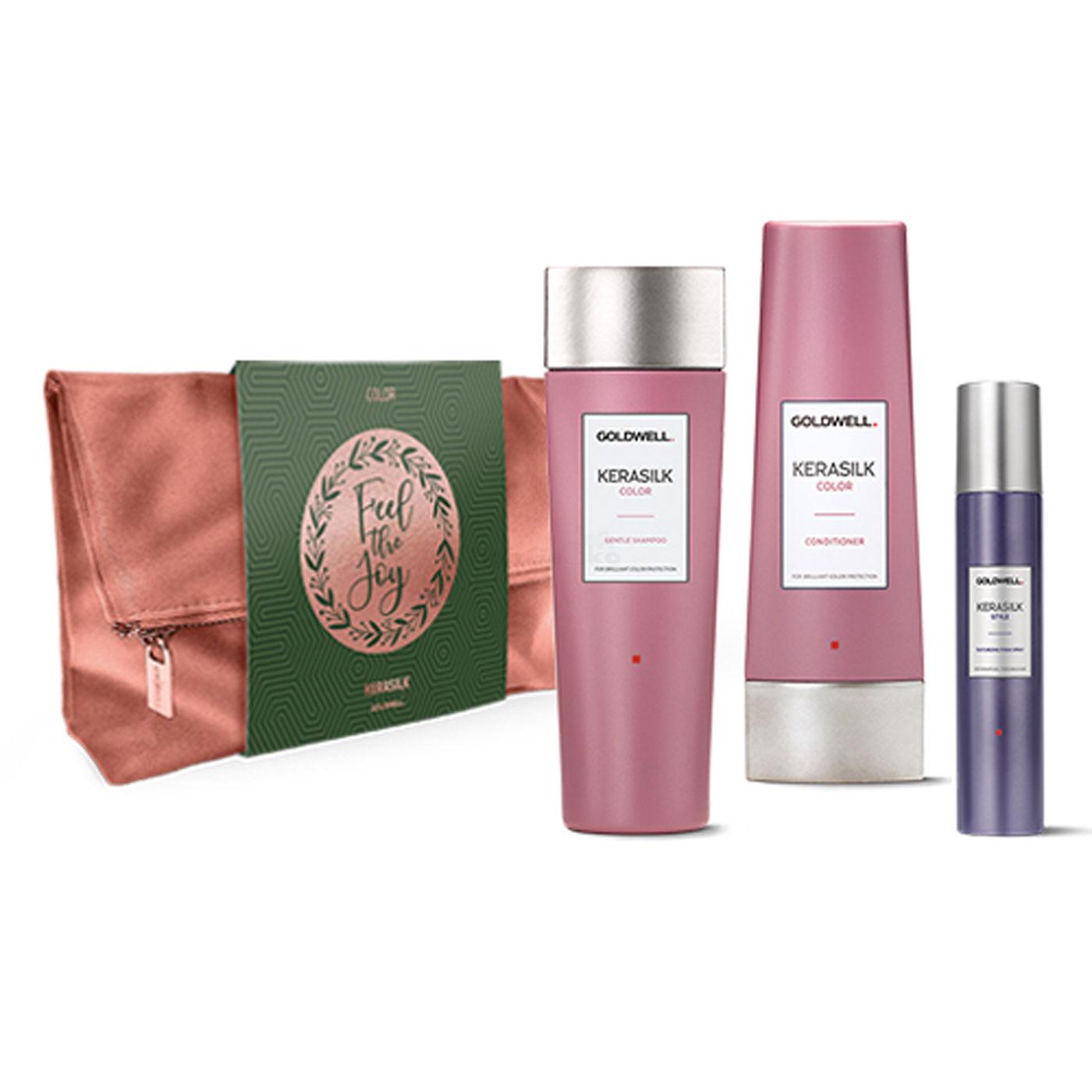 Goldwell Kerasilk Color Xmas Bag Tasche Set - Color Gentle Shampoo 250ml + Color Conditioner 200ml + Style Texture Refresh Spray 75ml