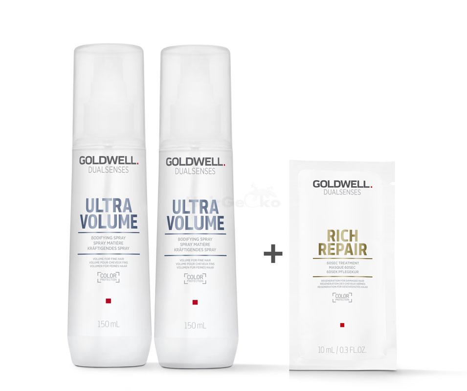Goldwell Dualsenses Ultra Volume Kräftigendes Spray 2x150ml = 300ml + Rich Repair 60 Sek Pflegekur Sachet 10ml