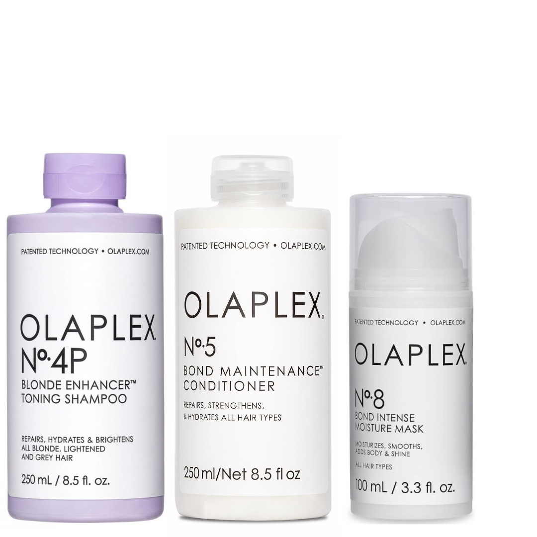 Olaplex Set - No.4P Blonde Enhancer Toning Shampoo 250ml + No.5 Bond Maintenance Conditioner 250ml + No.8 Bond Intense Moisture Mask 100ml