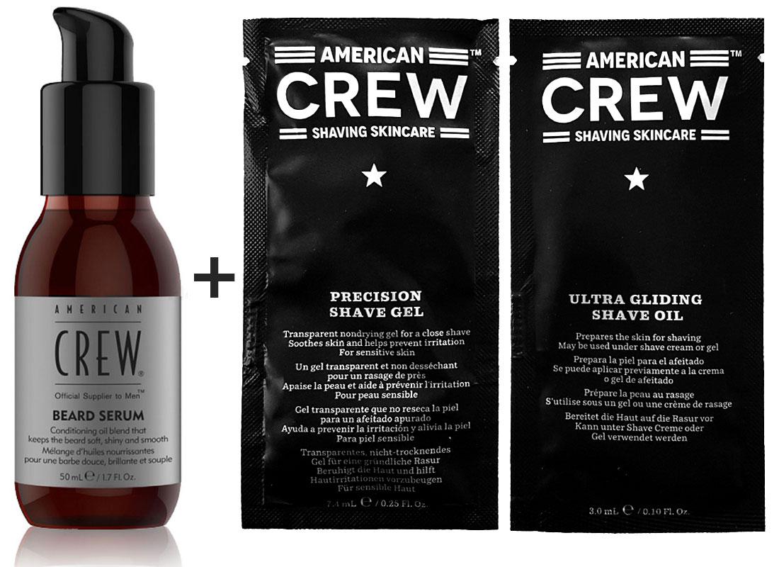 American Crew Beard Serum Bart-Öl 50ml + Ultra Gliding Shave Oil 3ml + Precision Shave Gel 7,4ml
