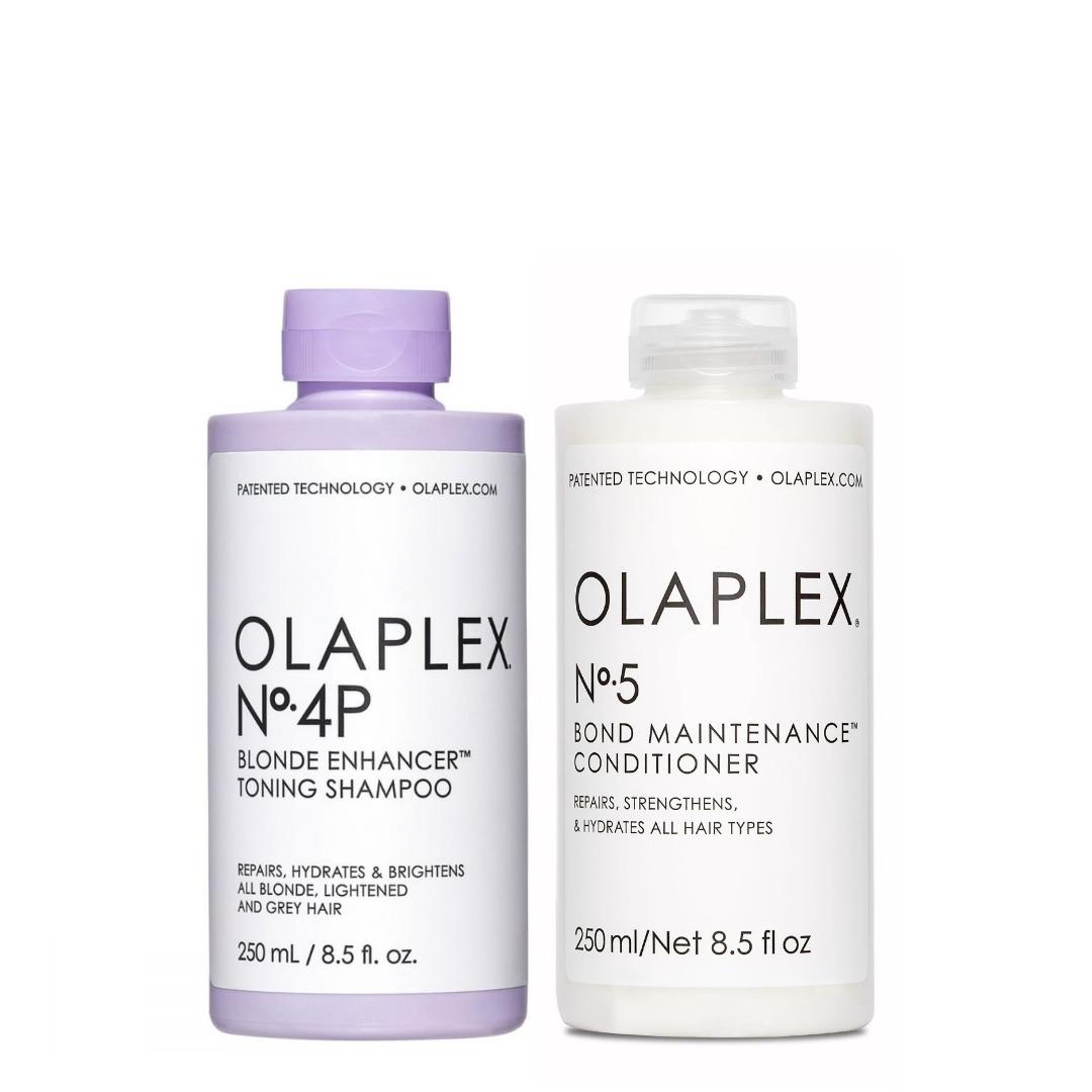 Olaplex Set - No.4P Blonde Enhancer Toning Shampoo 250ml + No.5 Bond Maintenance Conditioner 250ml