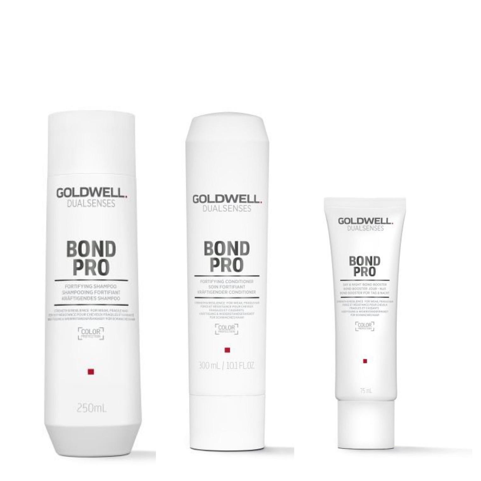 Goldwell Dualsenses Bond Pro Set - Shampoo 250ml + Conditioner 200ml + Bond Booster für Tag & Nacht 75ml