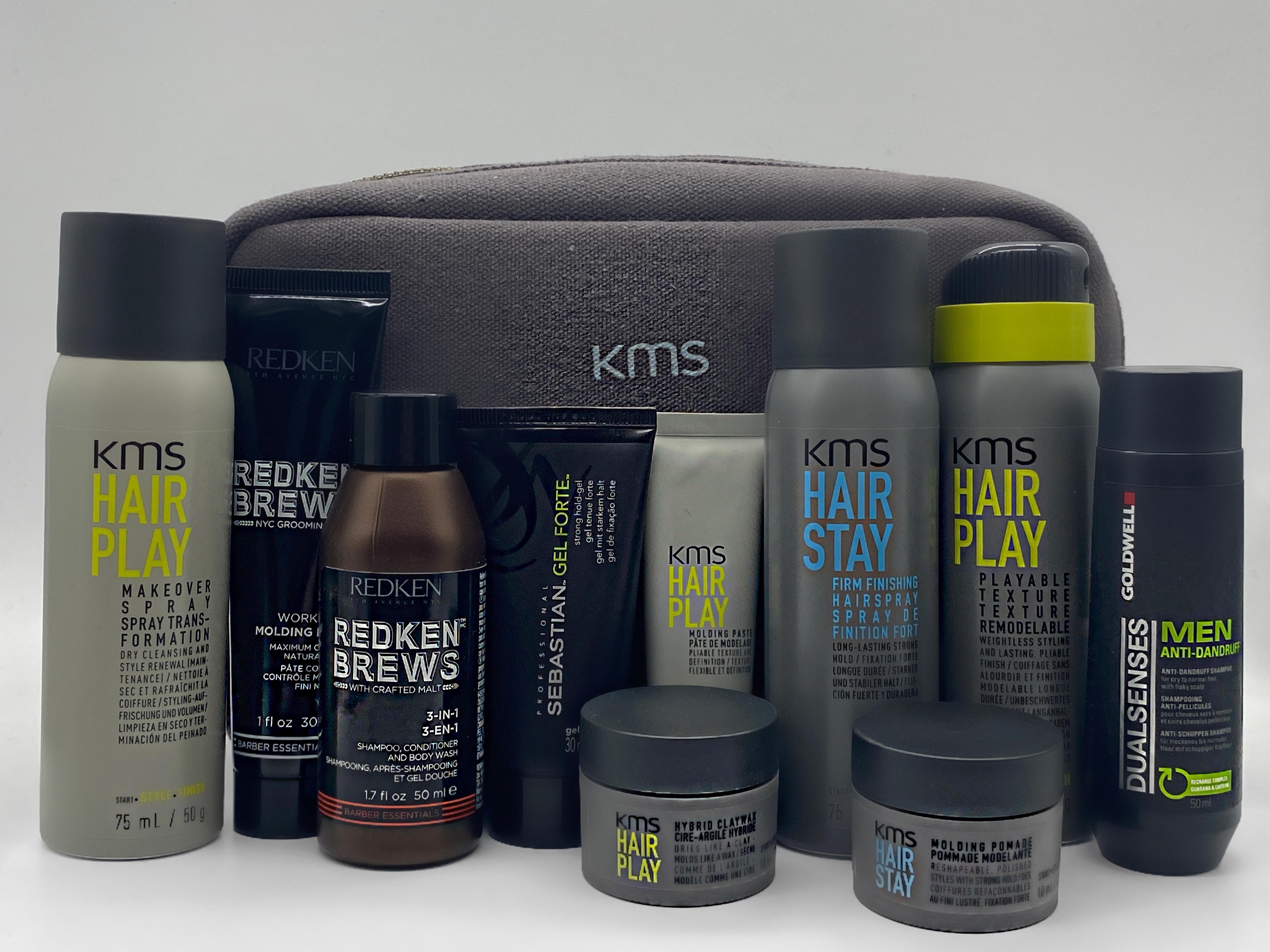 Männer Haarpflege Probierset mit KMS California Kulturbeutel