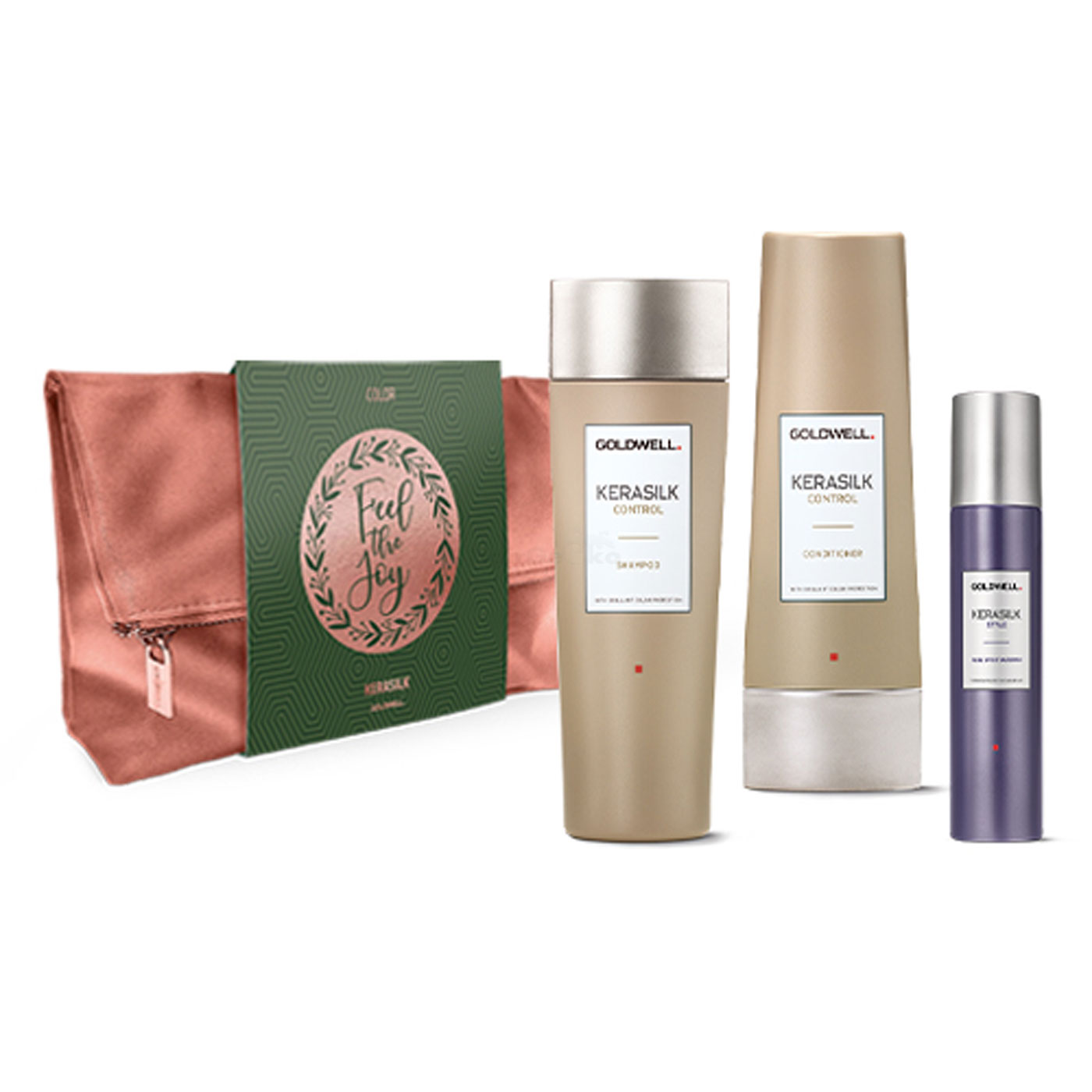 Goldwell Kerasilk Control Xmas Bag Tasche Set - Control Shampoo 250ml + Control Conditioner 200ml + Style Fixing Effect Hairspray 75ml + Tasche