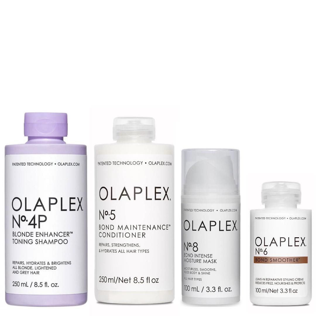 Olaplex Set - No.4P Blonde Enhancer Toning Shampoo 250ml + No.5 Bond Maintenance Conditioner 250ml + No.8 Bond Intense Moisture Mask 100ml + No.6 Bond Smoother 100ml