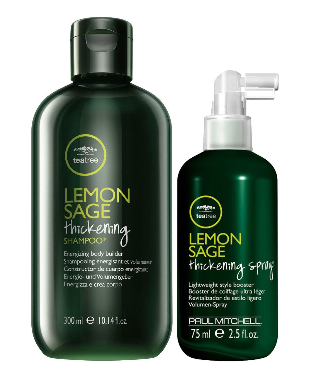Paul Mitchell Lemon Sage Thickening Travel Size Duo Set - Shampoo 300ml + Spray 75ml