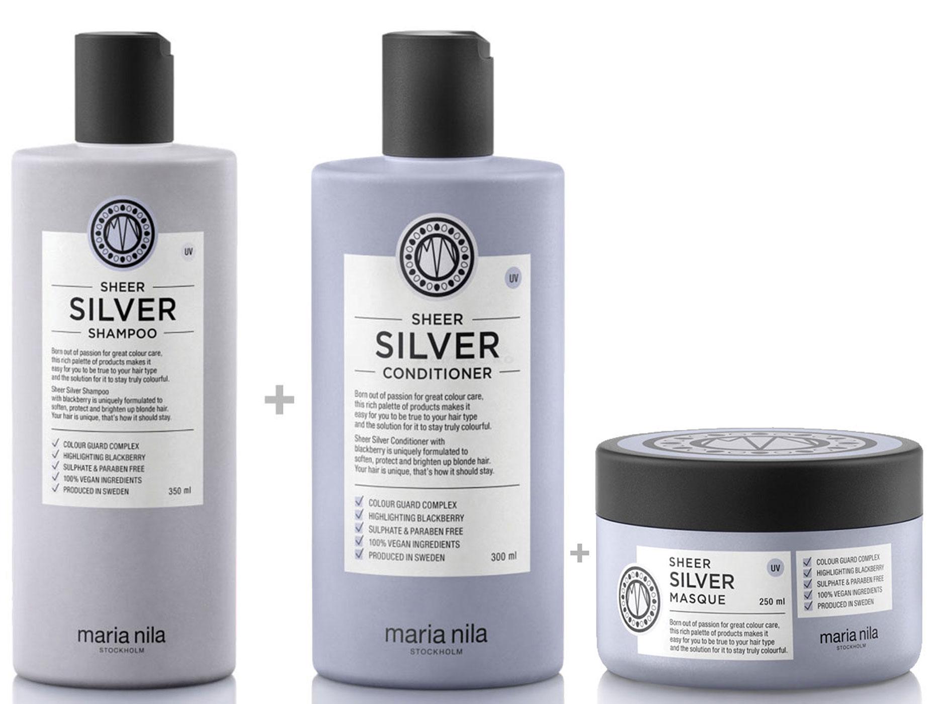 Maria Nila Sheer Silver Set - Shampoo 350 ml + Conditioner 300 ml + Masque / Maske 250 ml