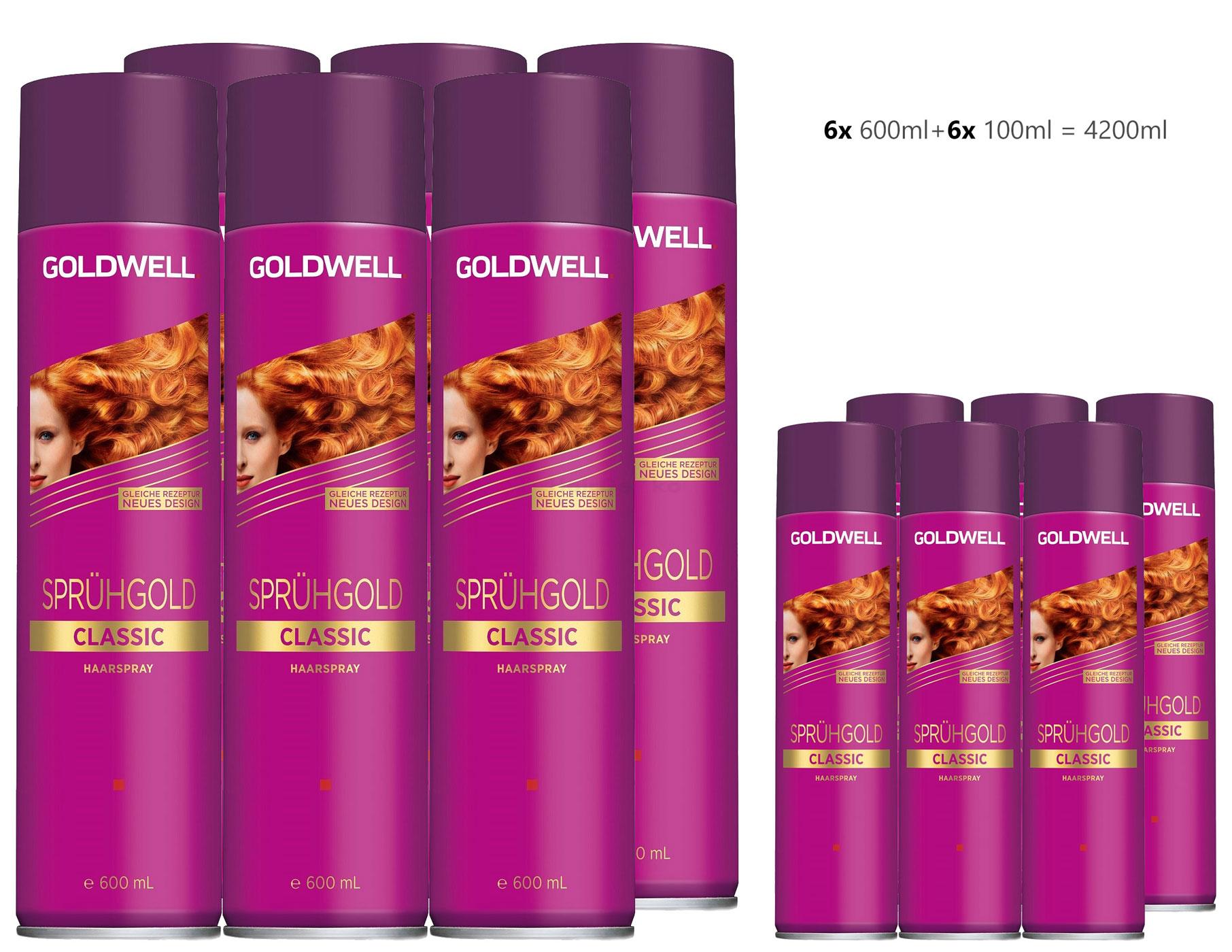 Goldwell Sprühgold Classic unisex, Haarspray Aktion 6x 600ml + 6x 100ml = 4200ml