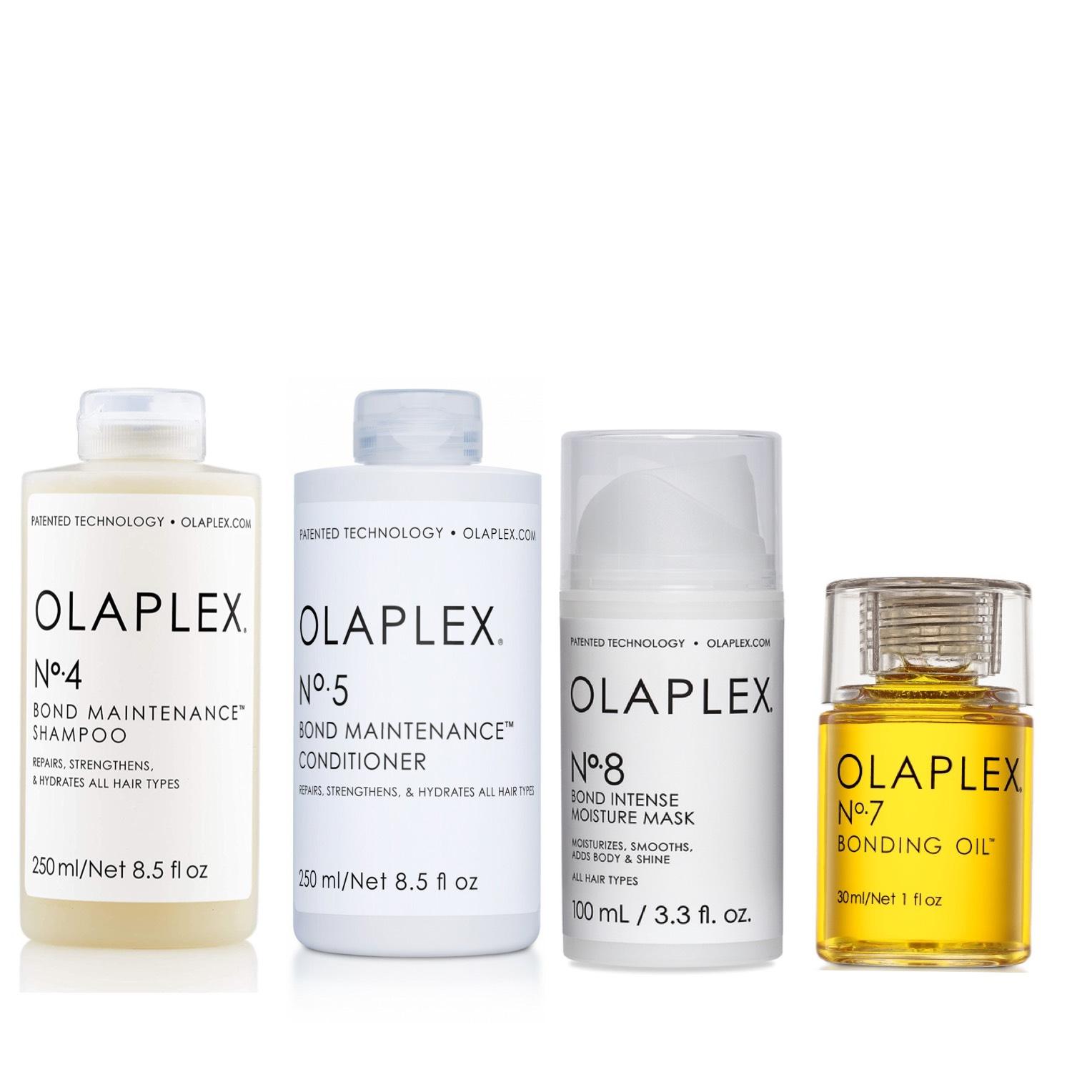 Olaplex Set - Olaplex No 4 Bond Maintenance Shampoo 250ml + Olaplex No 5 Bond Maintenance Conditioner 250ml + Olaplex No 8 Bond Intense Moisture Mask 100ml + Olaplex No 7 Bonding Oil 30ml