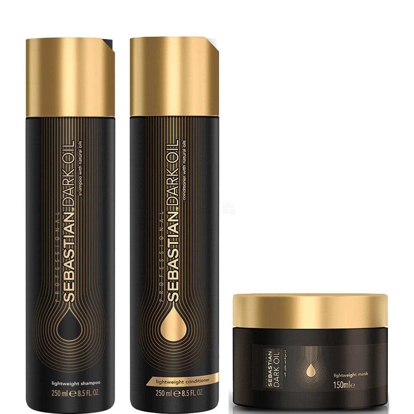 Sebastian Dark Oil Schwerelos Lightweight Set - Shampoo 250ml + Conditioner 250ml + Maske 150ml