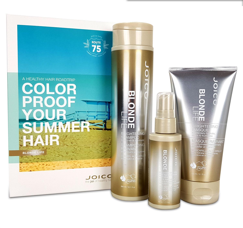 Joico Blonde Life Brightening Summer Kit - Brightening Shampoo 300ml + Brightening Masque 150ml + Brightening Veil 50 ml