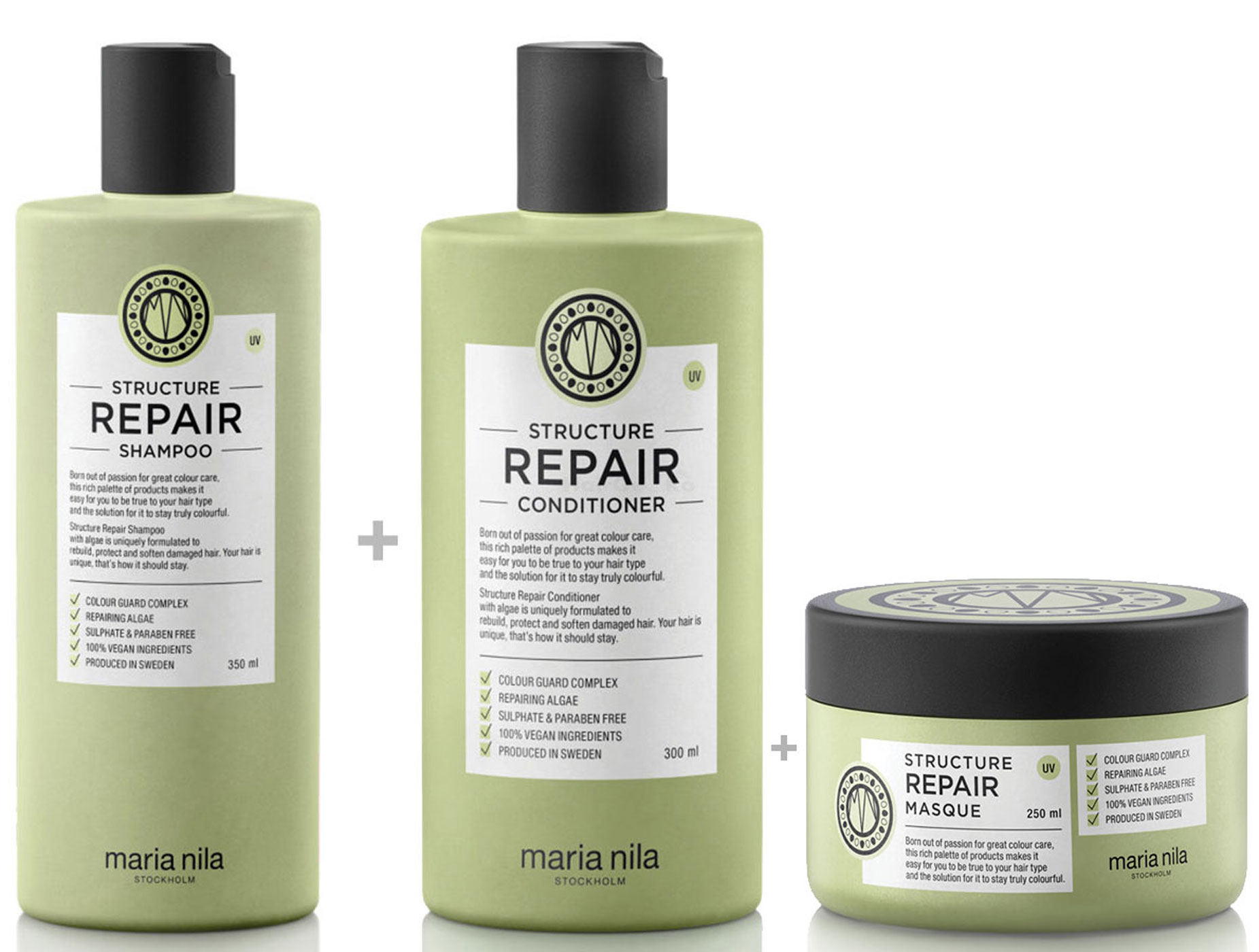 Maria Nila Structure Repair Set - Shampoo 350 ml + Conditioner 300 ml + Masque / Maske 250 ml