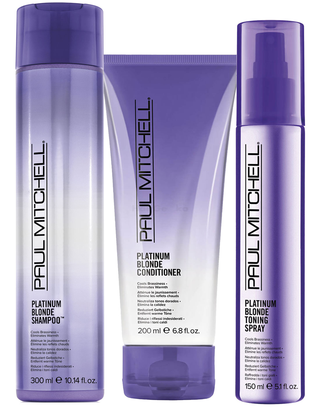 Paul Mitchell Platinum Blonde Set - Shampoo 300ml + Conditioner 200ml + Toning Spray 150ml