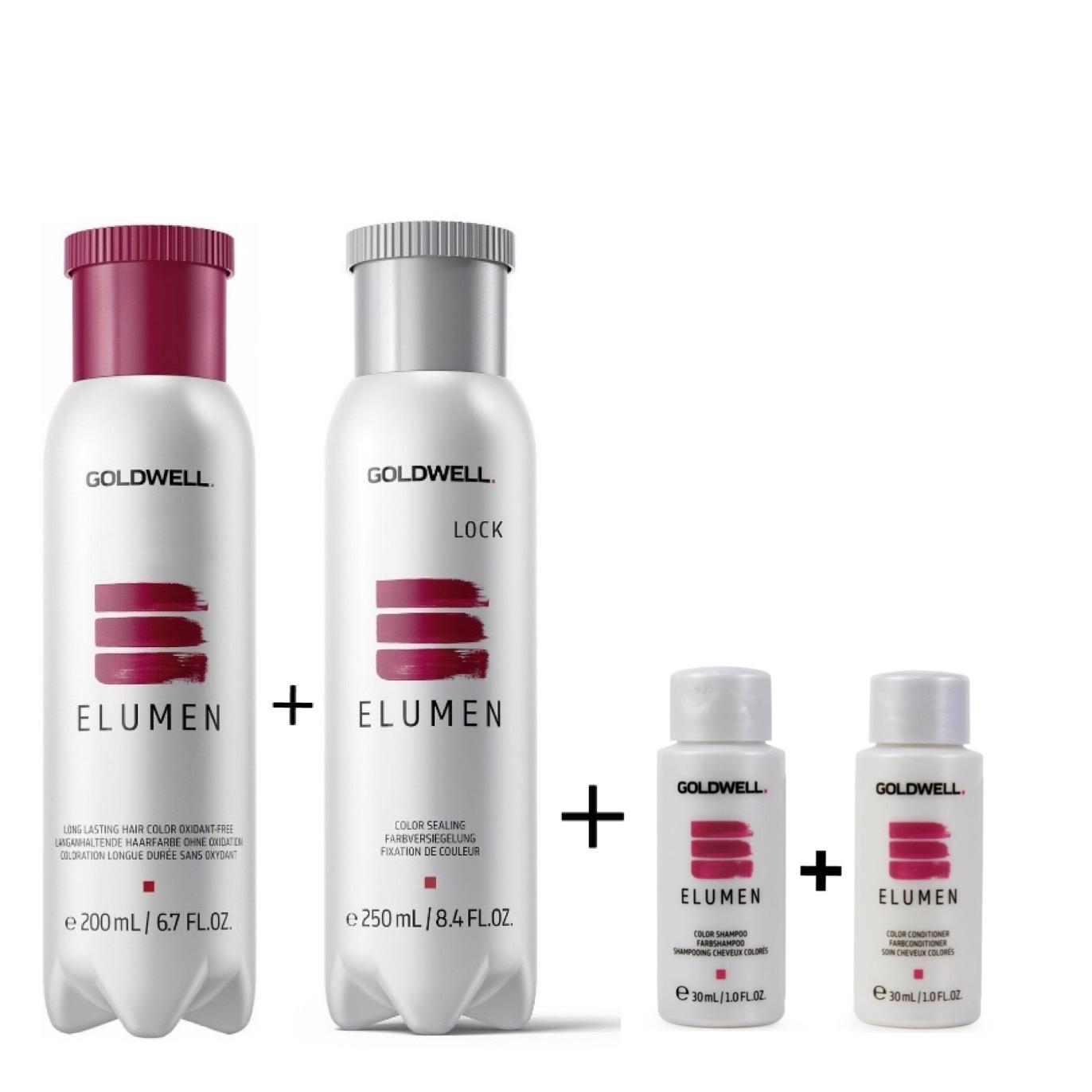 Goldwell Elumen Haarfarbe [RR@all Rot] 200ml + 250ml Lock Versiegelung + 30ml Color Shampoo + 30ml Color Conditioner