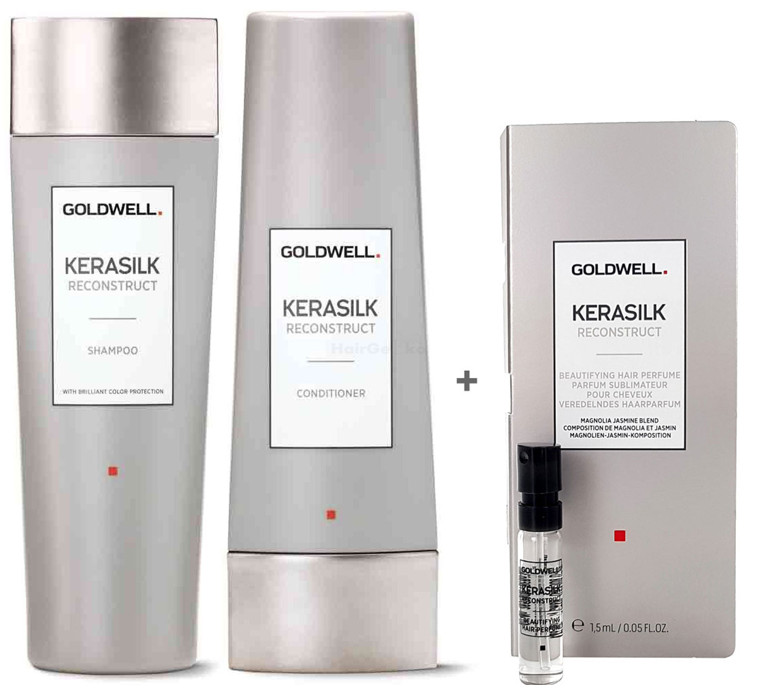 Goldwell Kerasilk Reconstruct Set - Shampoo 250ml + Conditioner 200ml + Haarparfum Probe 1,5ml