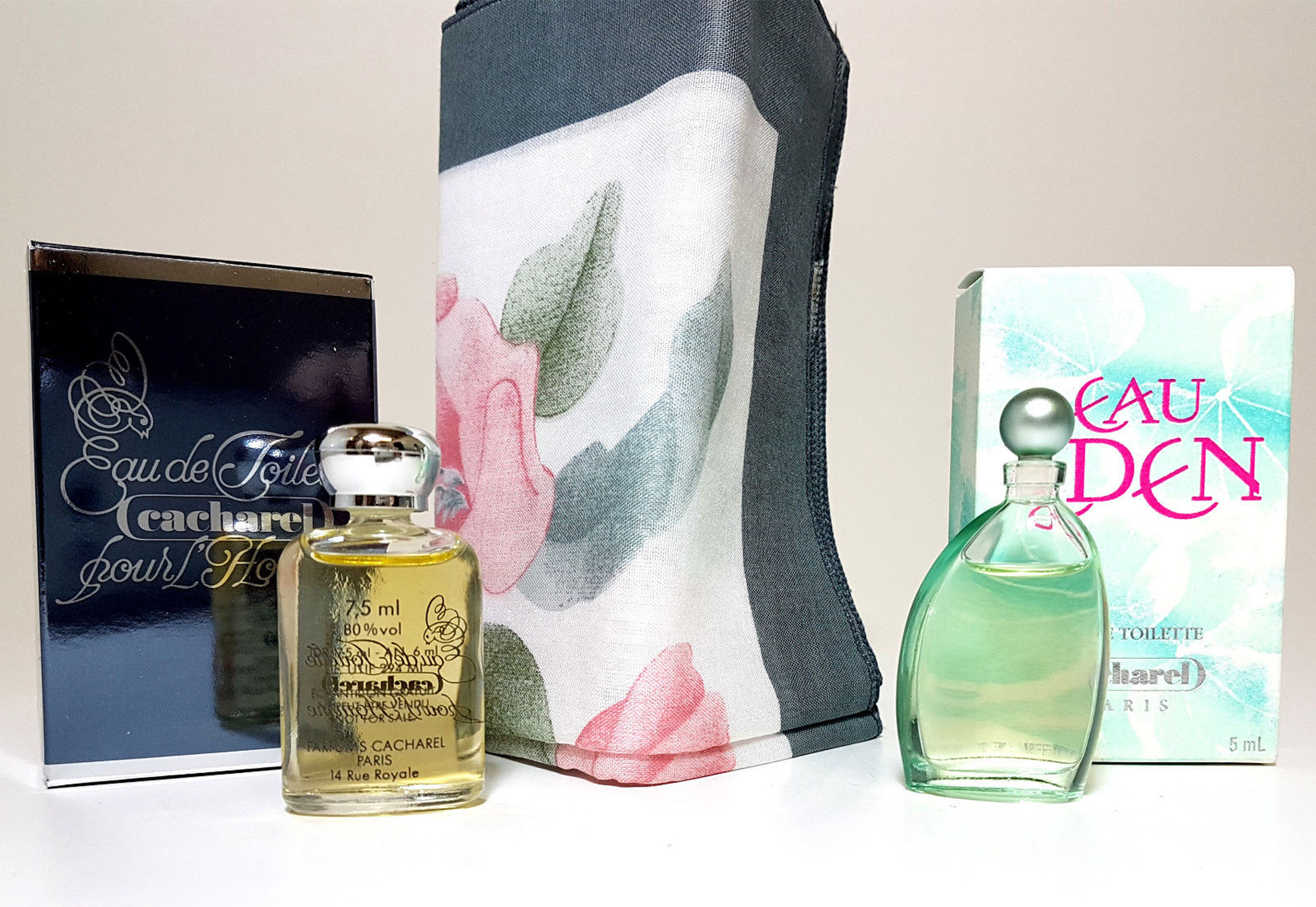 Cacharel Parfum Miniaturen Set - Cacharel Pour Lhomme EdT Eau de Toilette 7,5ml + Cacharel Eau de Eden 5ml Miniatur + Cacharel Tuch