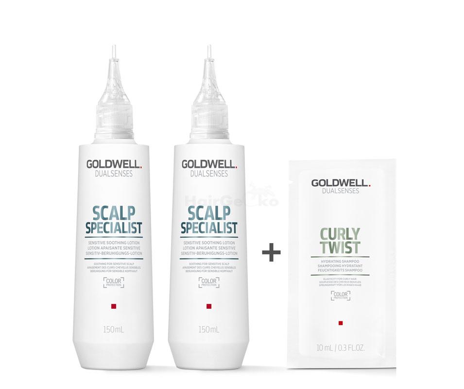 Goldwell Dualsenses Scalp Specialist Sensitiv Beruhigungs-Lotion 2x150ml = 300ml + Curly Twist Feuchtigkeits Shampoo Sachet 10ml