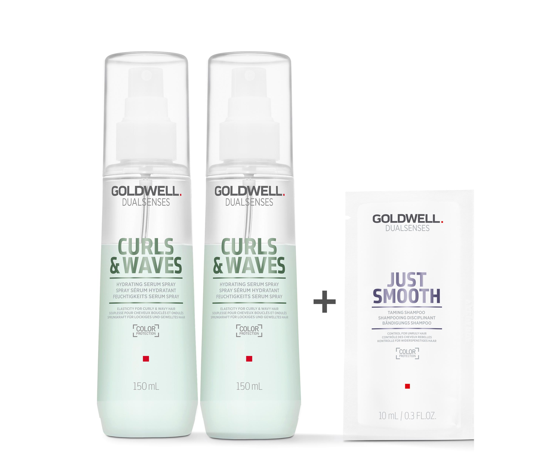Goldwell Dualsenses Curls & Waves Feuchtigkeits Serum Spray 2x150ml = 300ml + Just Smooth Sachet 10ml
