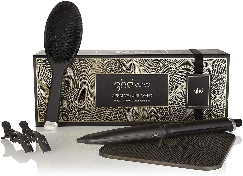 ghd Geschenkset Curve Creative Curl Wand Lockenstab + Matte + Bürste + 2x Clips zum Abteilen der Haare